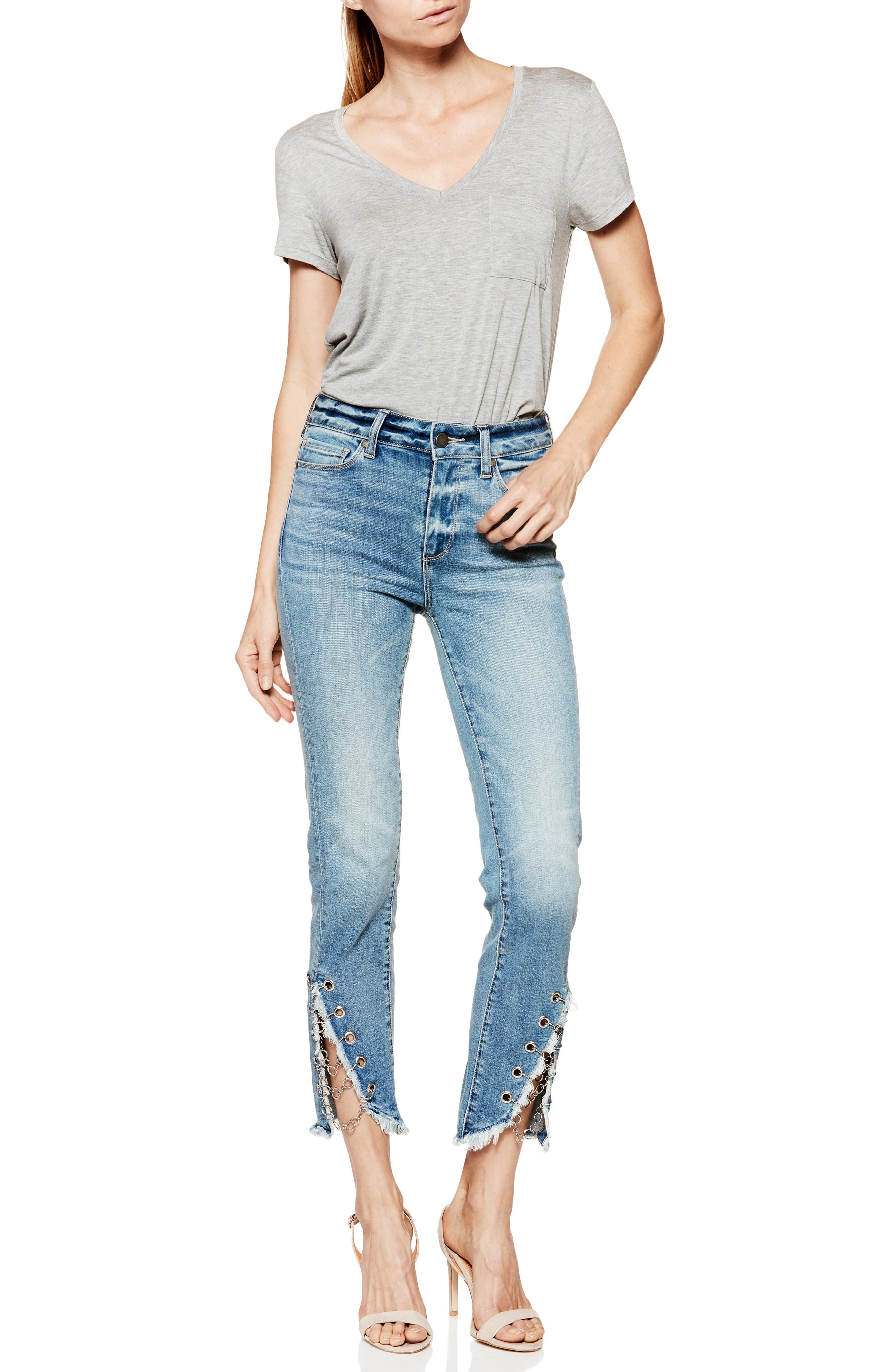 Hoxton High Waist Ankle Straight Leg Jeans,                             Alternate thumbnail 6, color,                             400