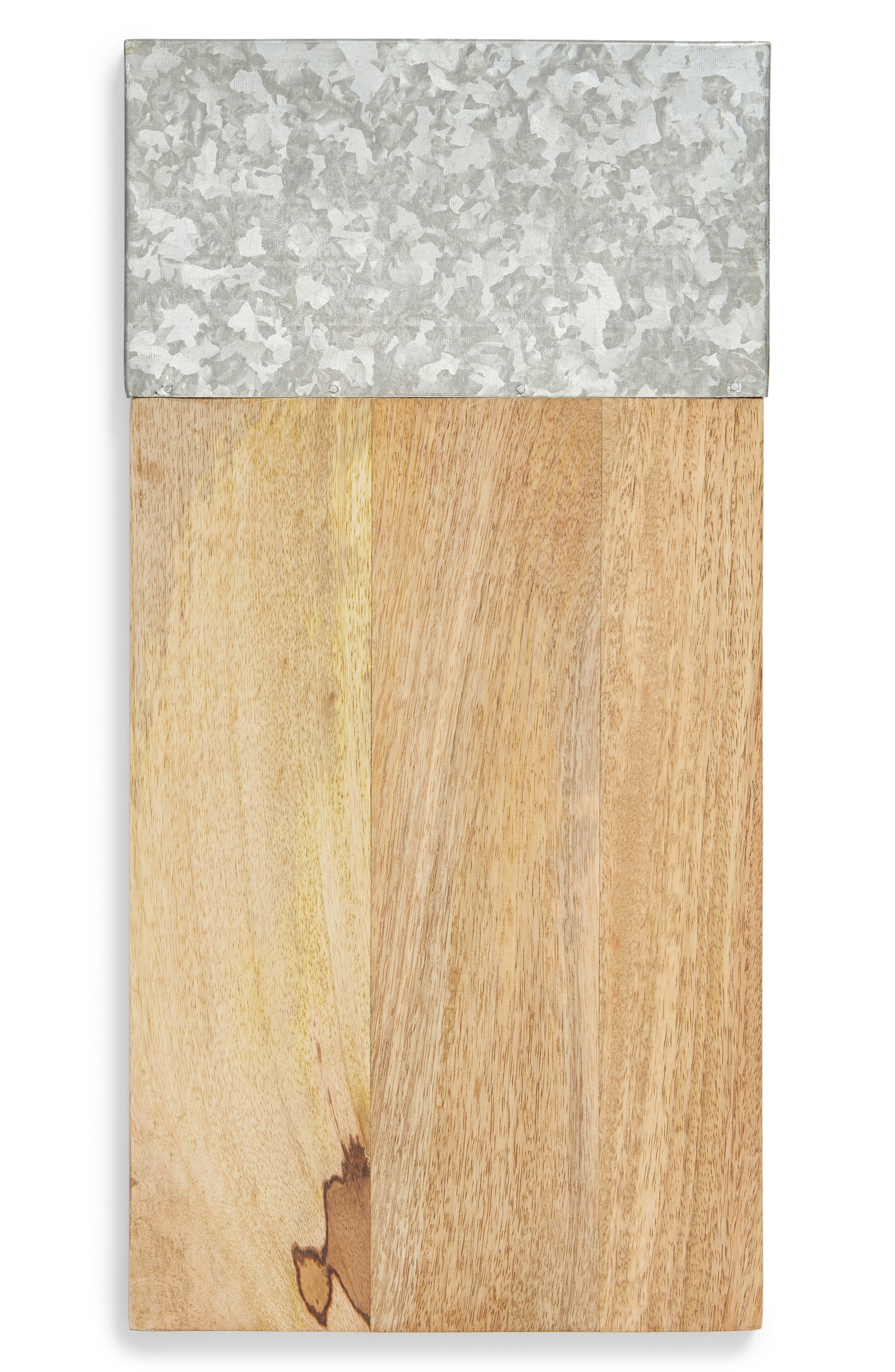 Wood & Galvanized Iron Serving Board,                         Main,                         color, GREY