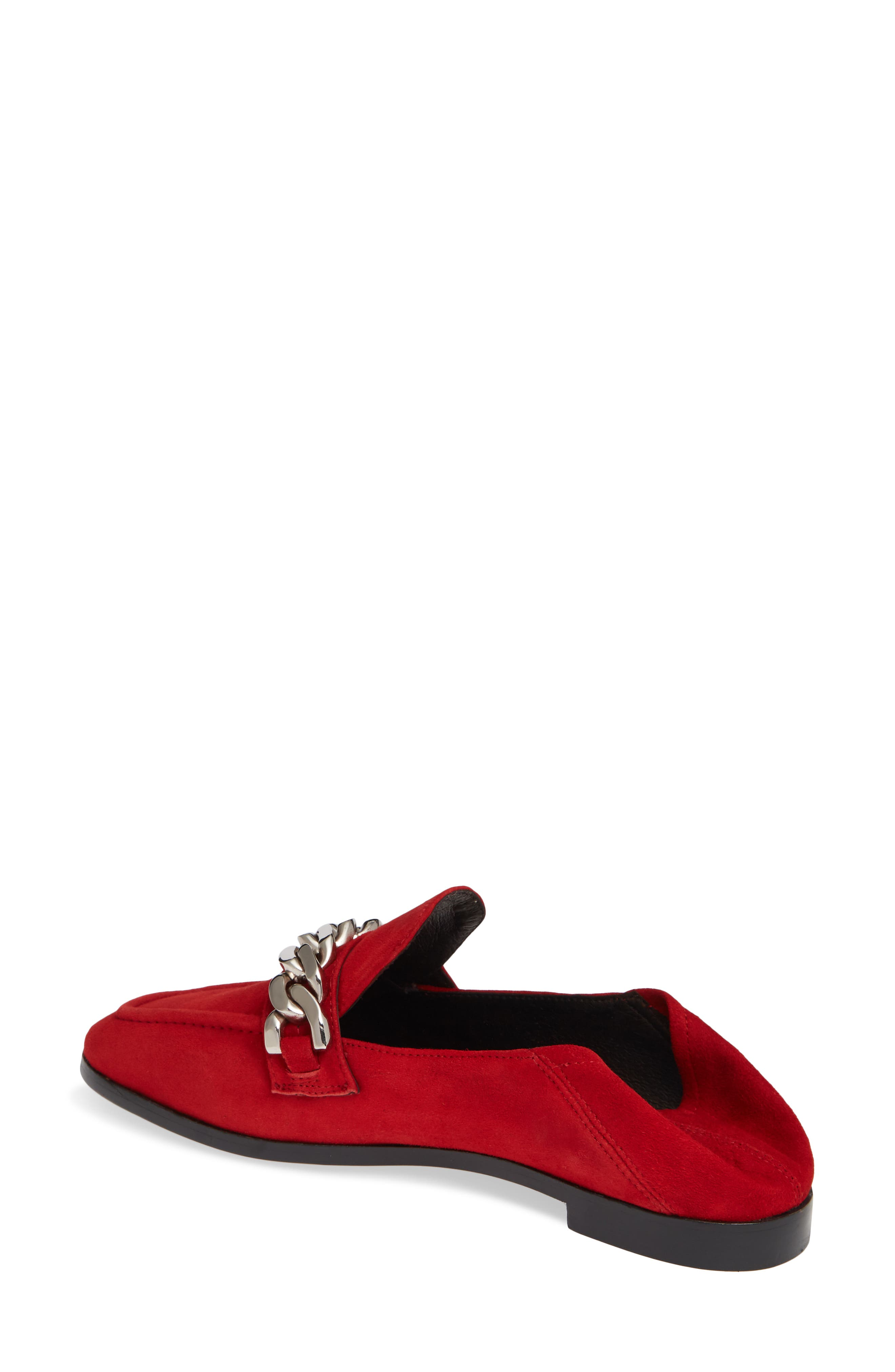 Jesse Convertible Heel Loafer,                             Alternate thumbnail 3, color,                             RED SUEDE SILVER