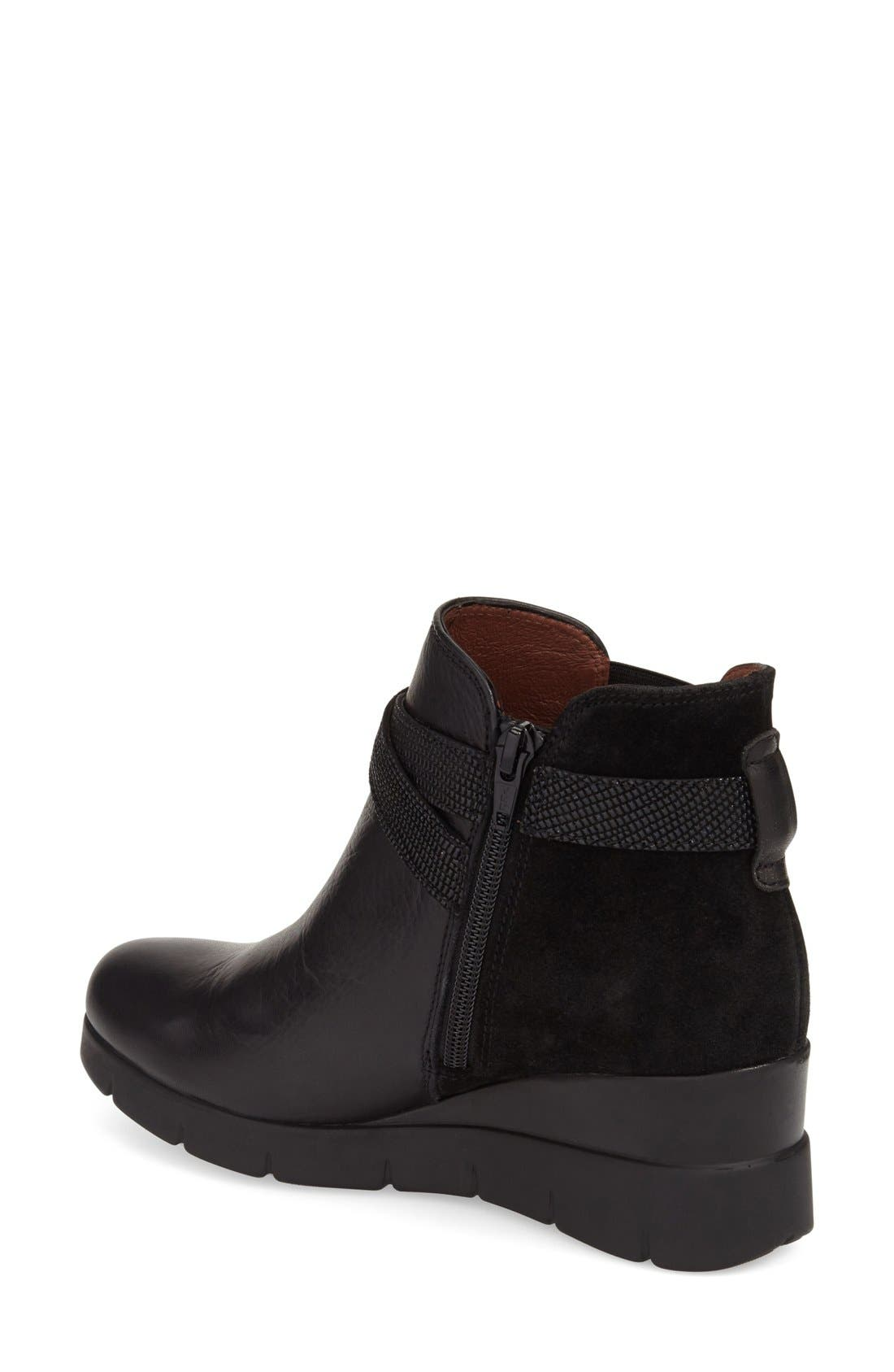 'Larae' Wedge Bootie,                             Alternate thumbnail 2, color,                             SOHO BLACK LEATHER