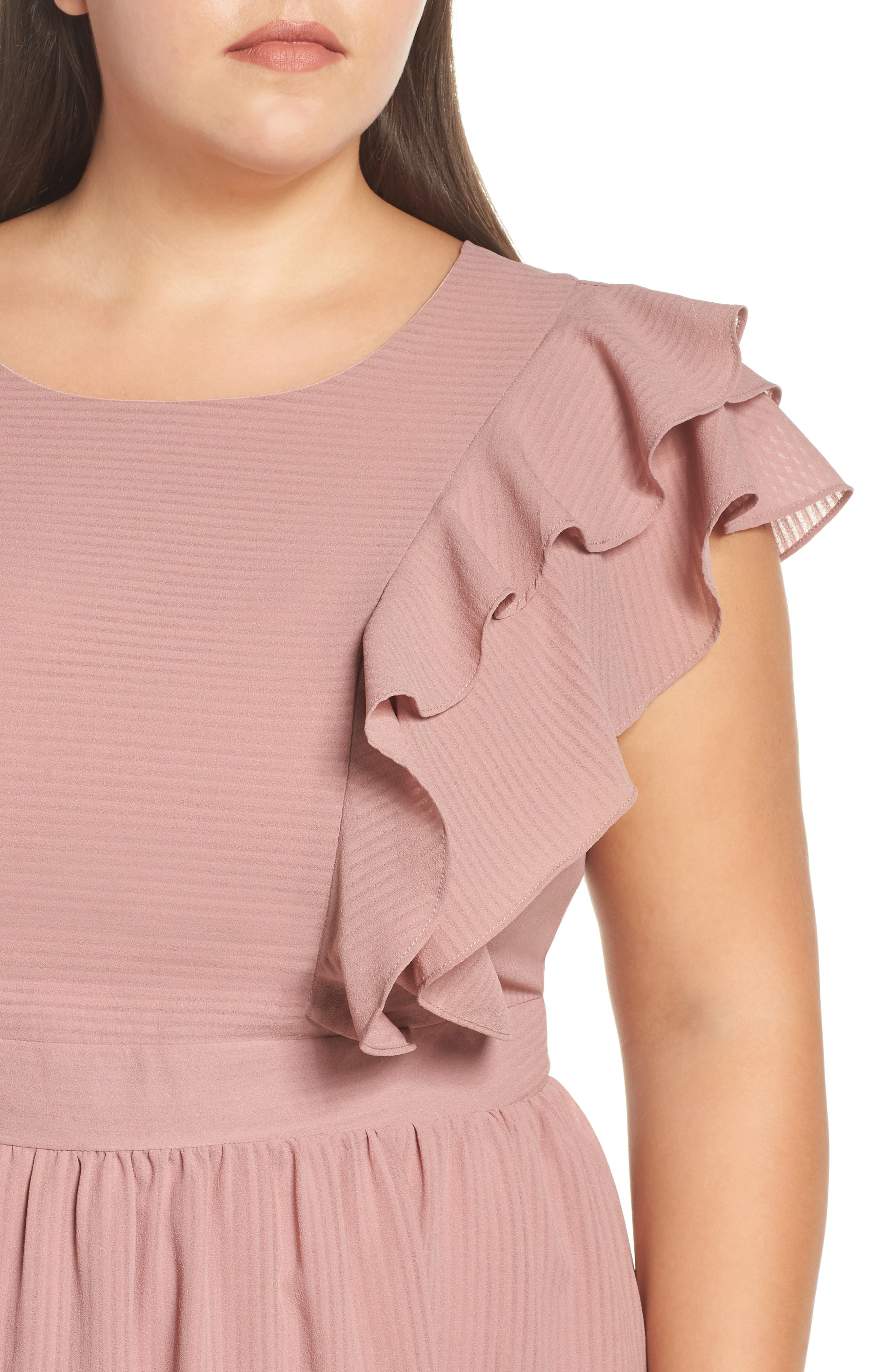 Ruffle Sleeve Fit & Flare Dress,                             Alternate thumbnail 4, color,                             681