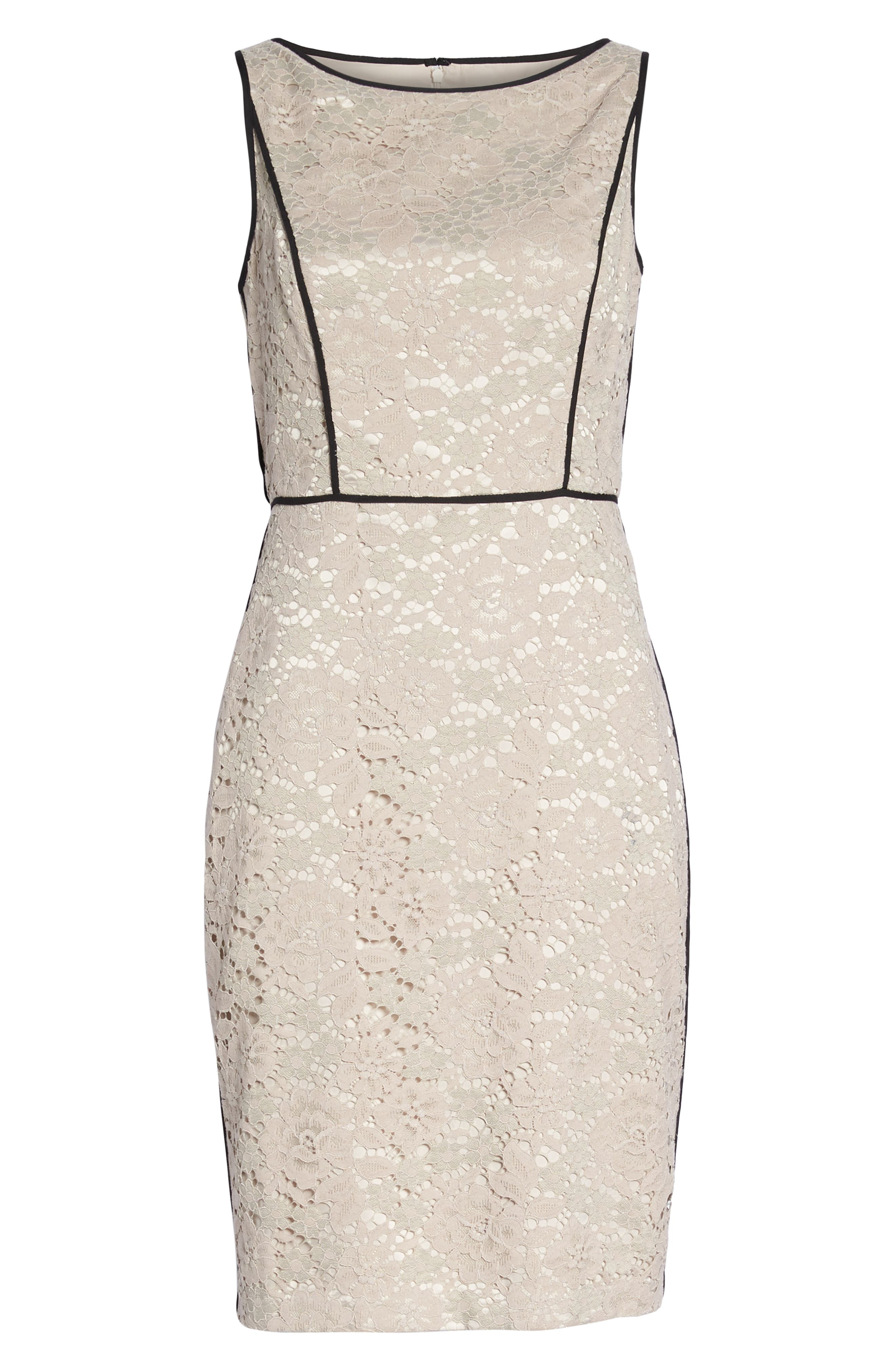 Piped Lace Sheath Dress,                             Alternate thumbnail 7, color,                             256