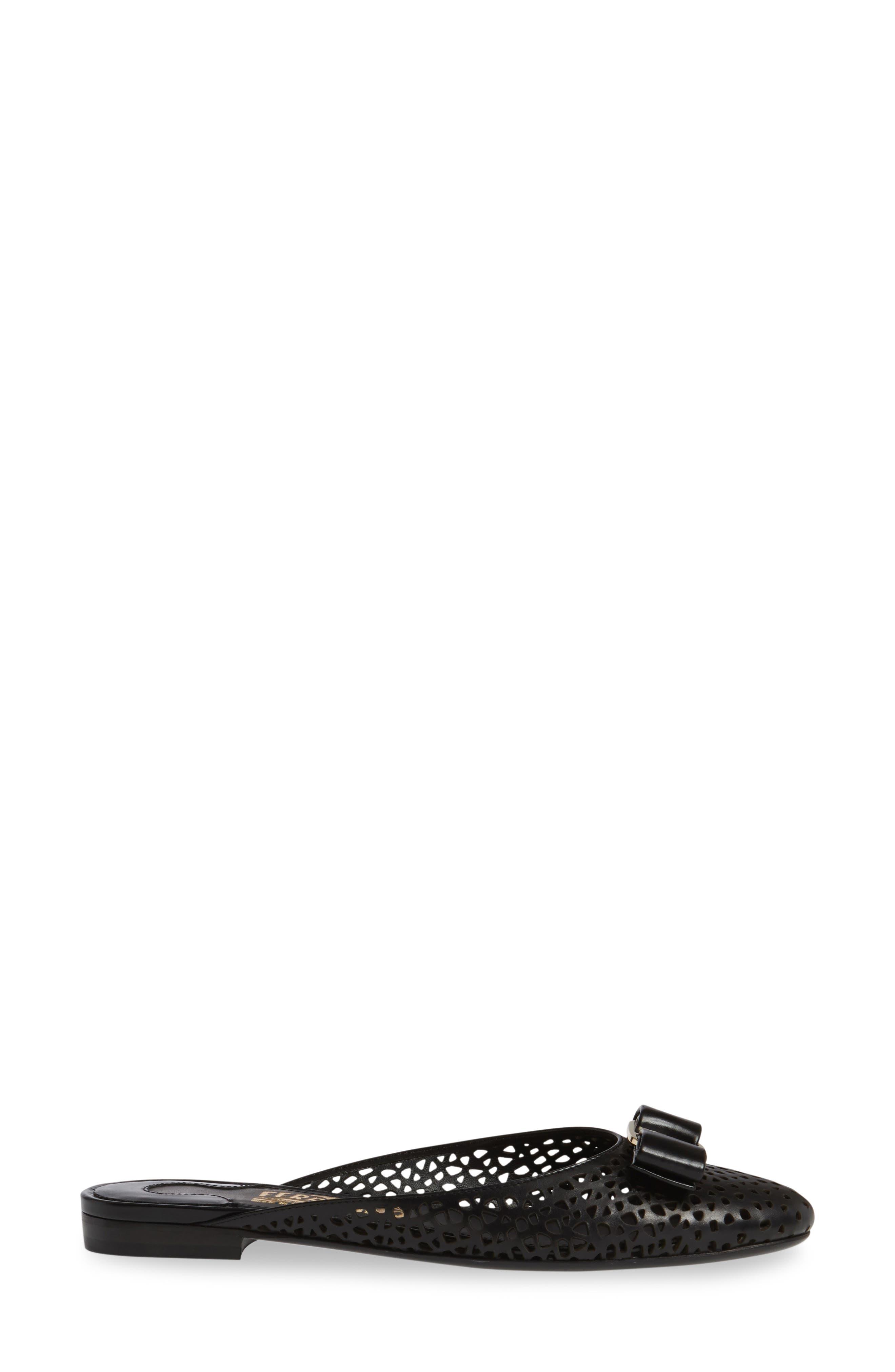 Laser Cut Bow Mule,                             Alternate thumbnail 3, color,                             001