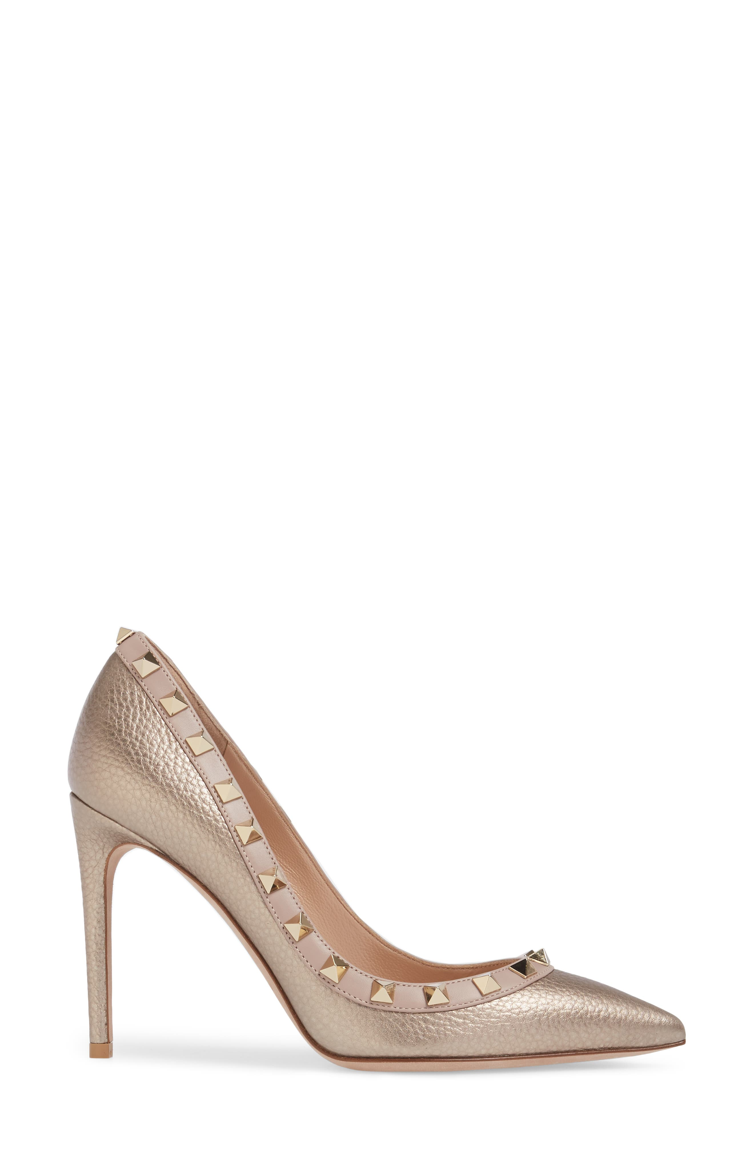 Rockstud Pointy Toe Pump,                             Alternate thumbnail 3, color,                             710