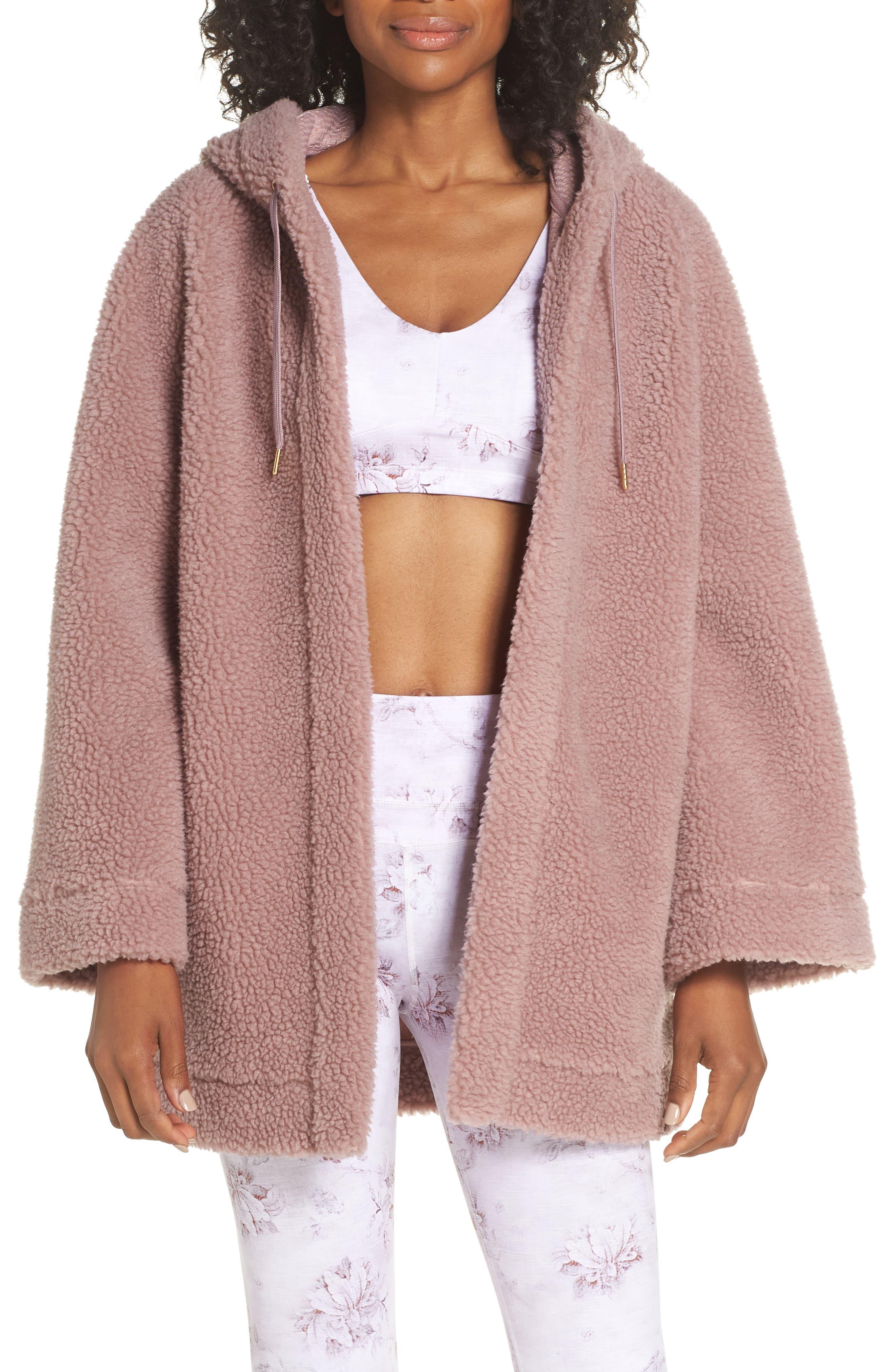 Varley Open Front Fleece Jacket, Pink