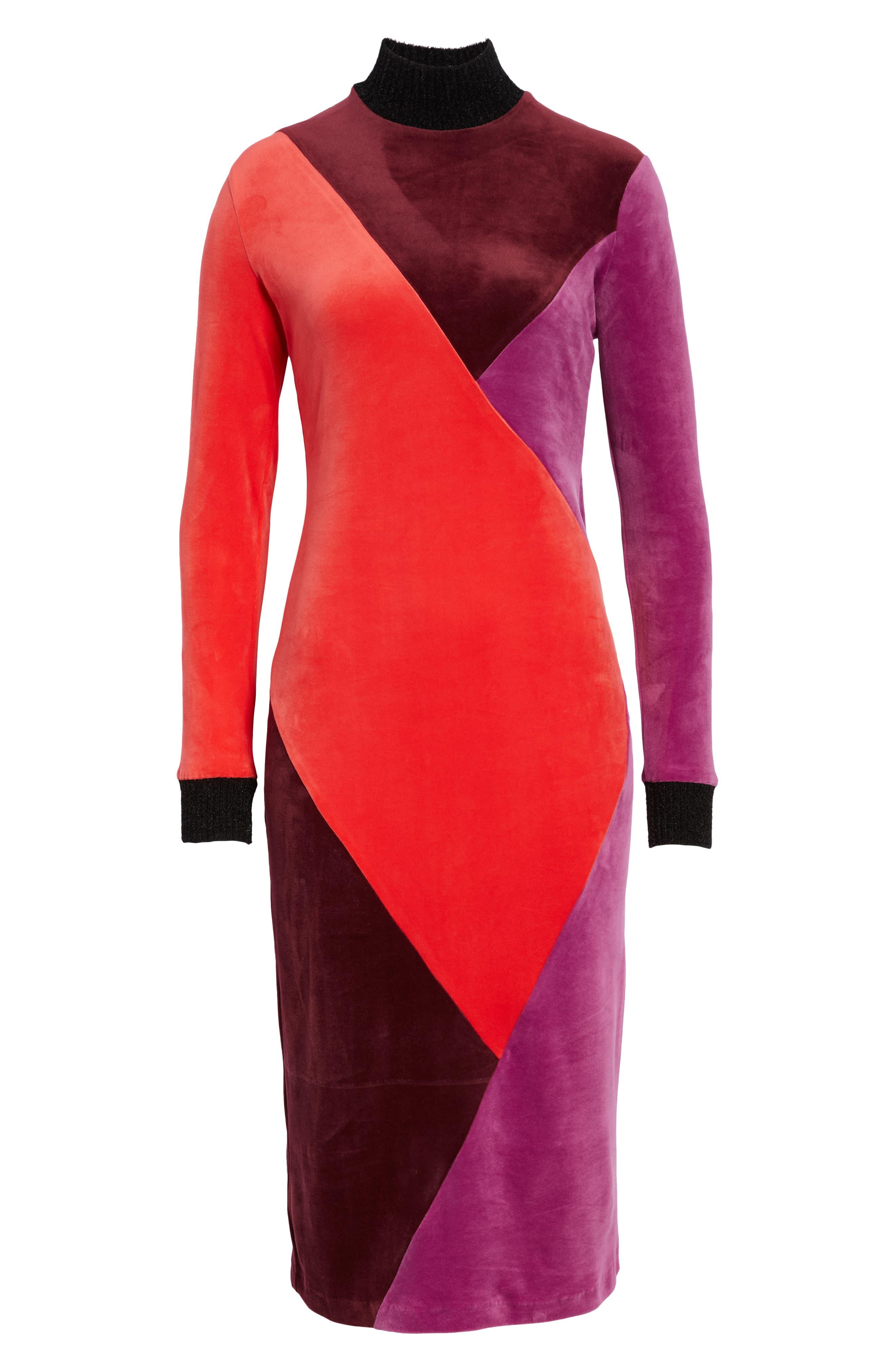 Velluto Velour Midi Dress,                             Alternate thumbnail 7, color,                             BORGOGNA