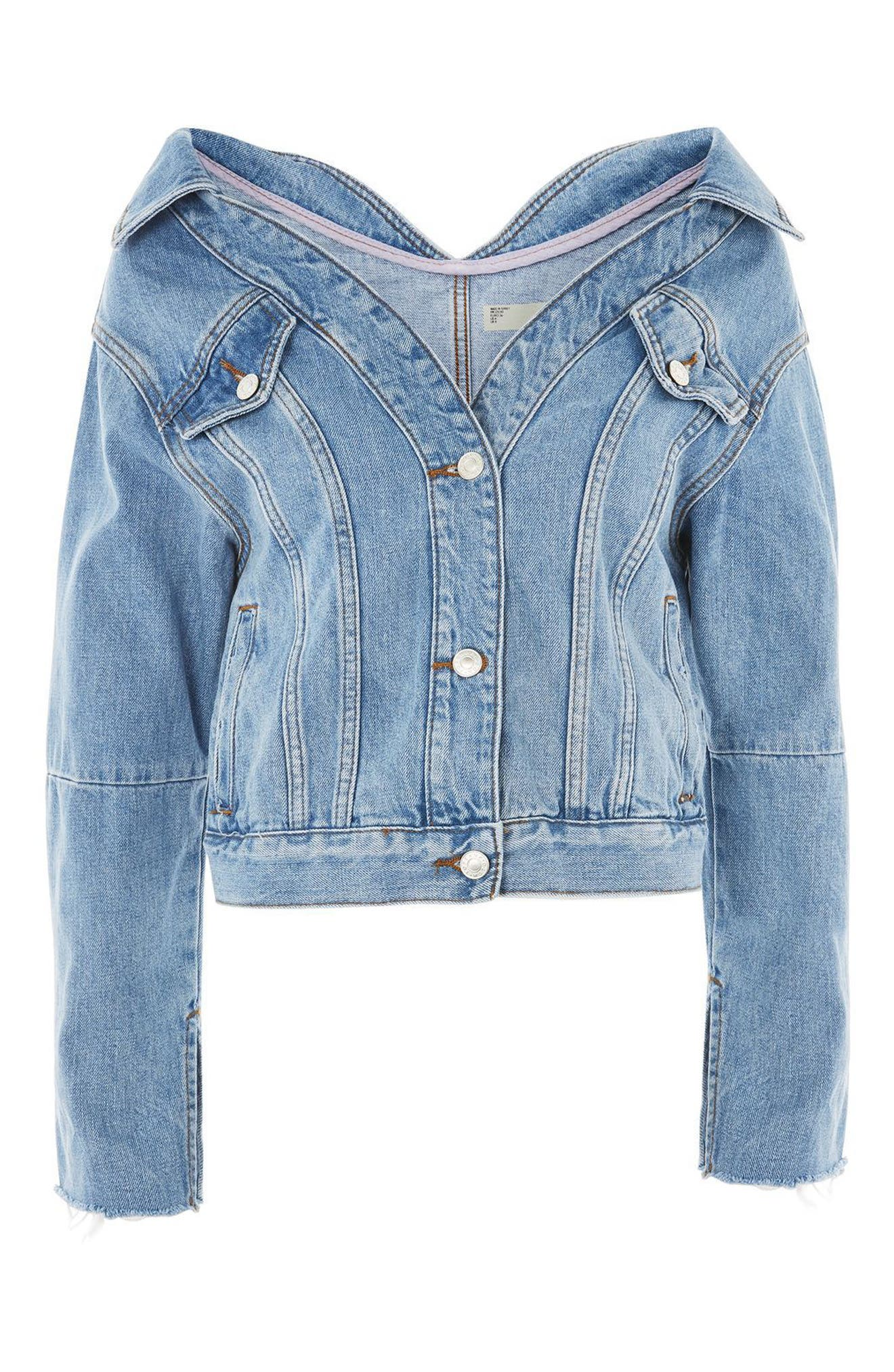Off the Shoulder Denim Jacket,                             Alternate thumbnail 3, color,                             400