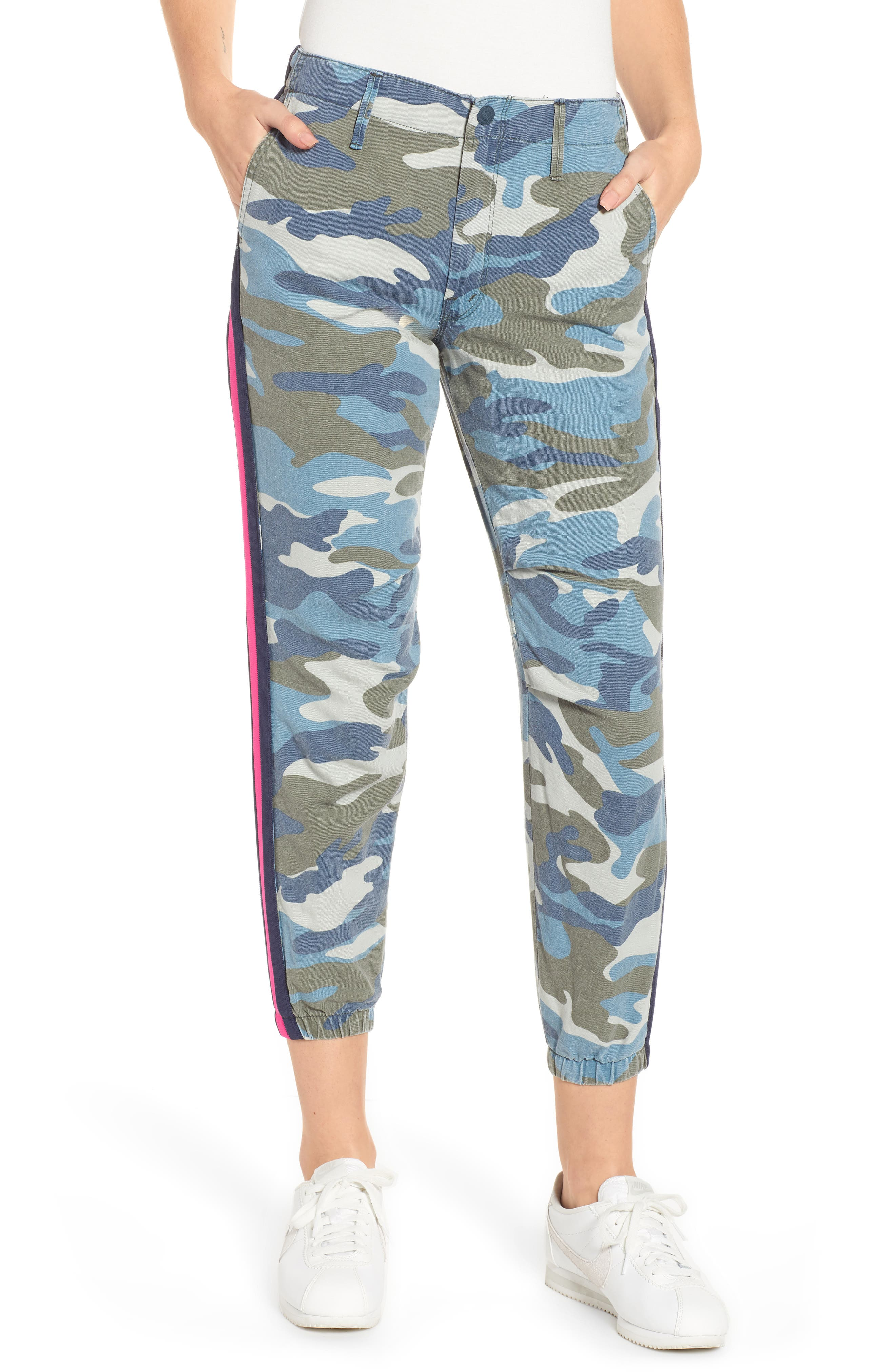 Misfit Camo-Print Racer Stripe Cropped Pants in Army Blue Camo