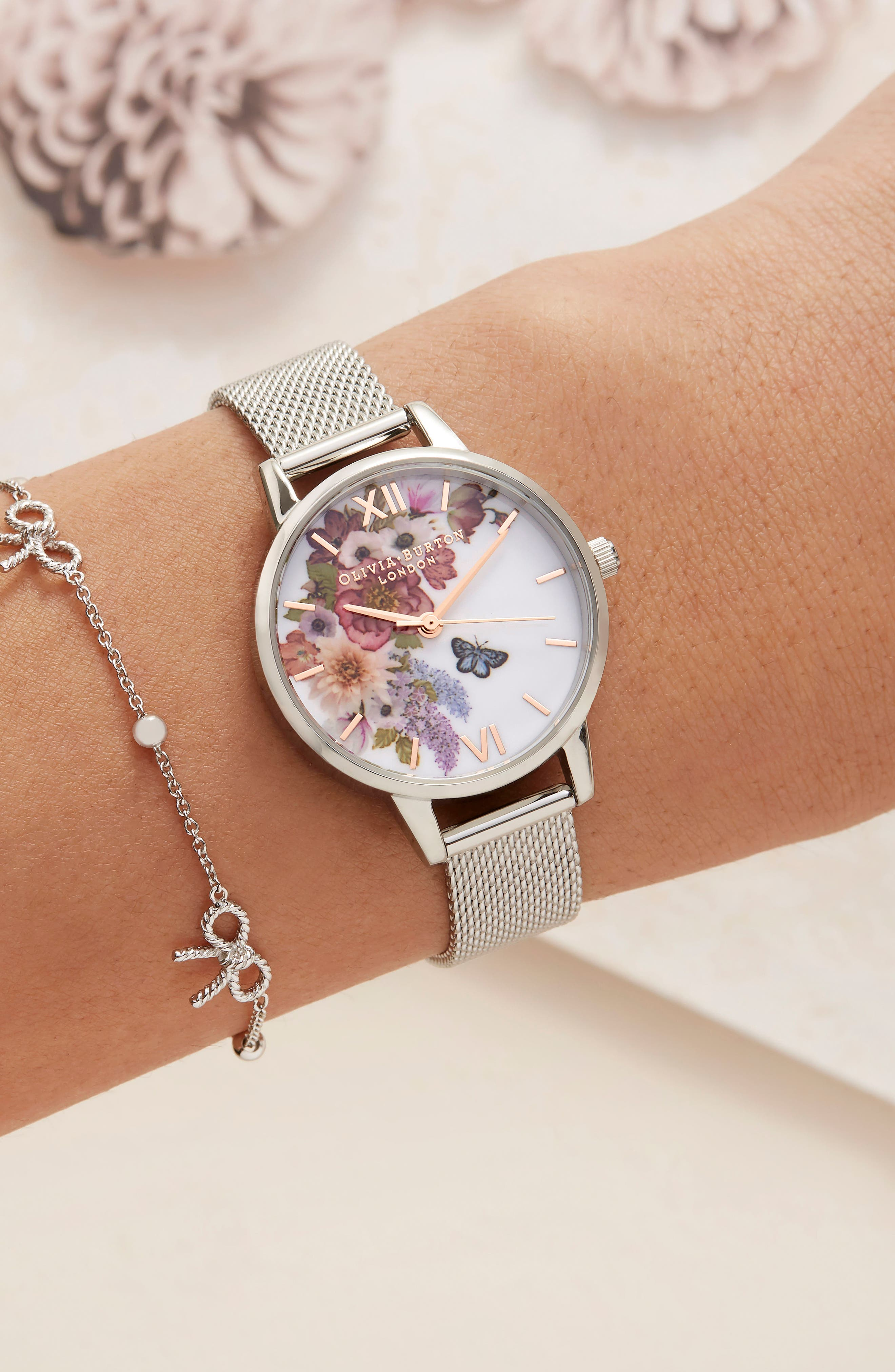 Enchanted Garden Mesh Strap Watch, 30mm,                             Alternate thumbnail 6, color,                             SILVER/ FLORAL/ ROSE GOLD