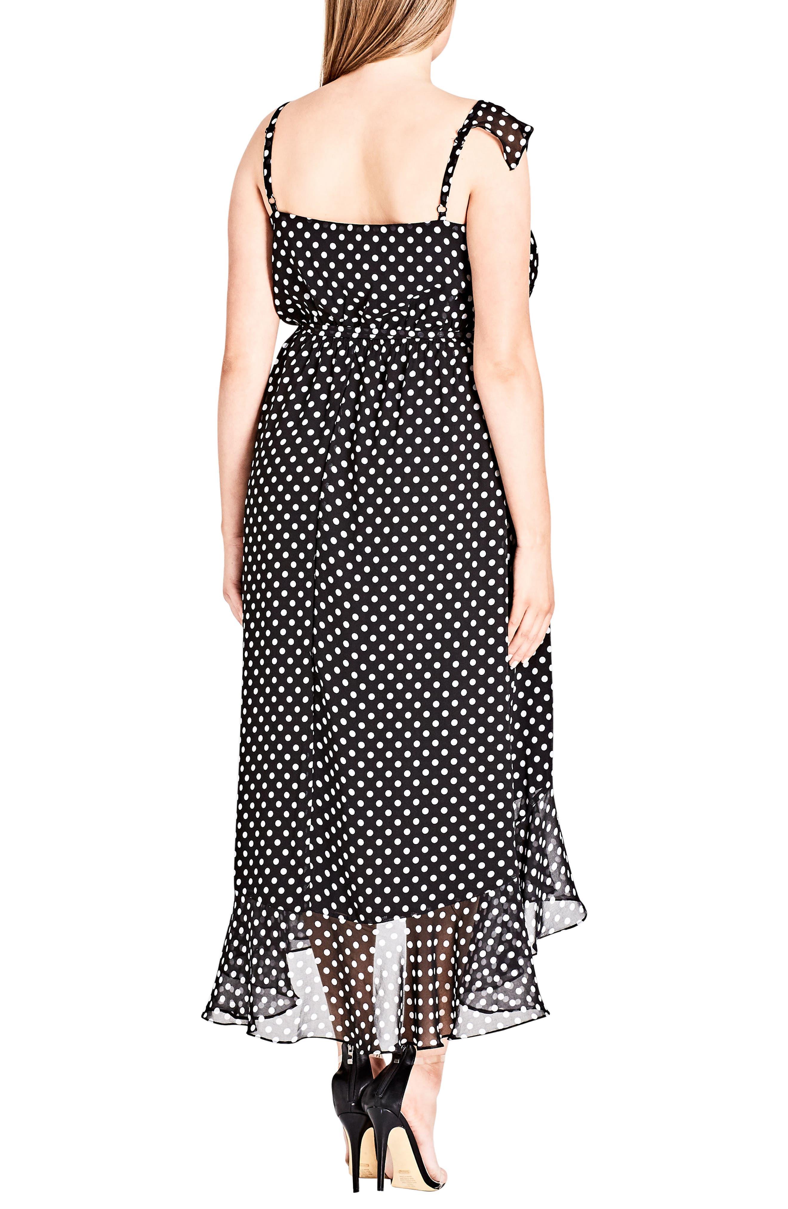 Dot Asymmetrical Wrap Dress,                             Alternate thumbnail 2, color,                             WHITE SPOT
