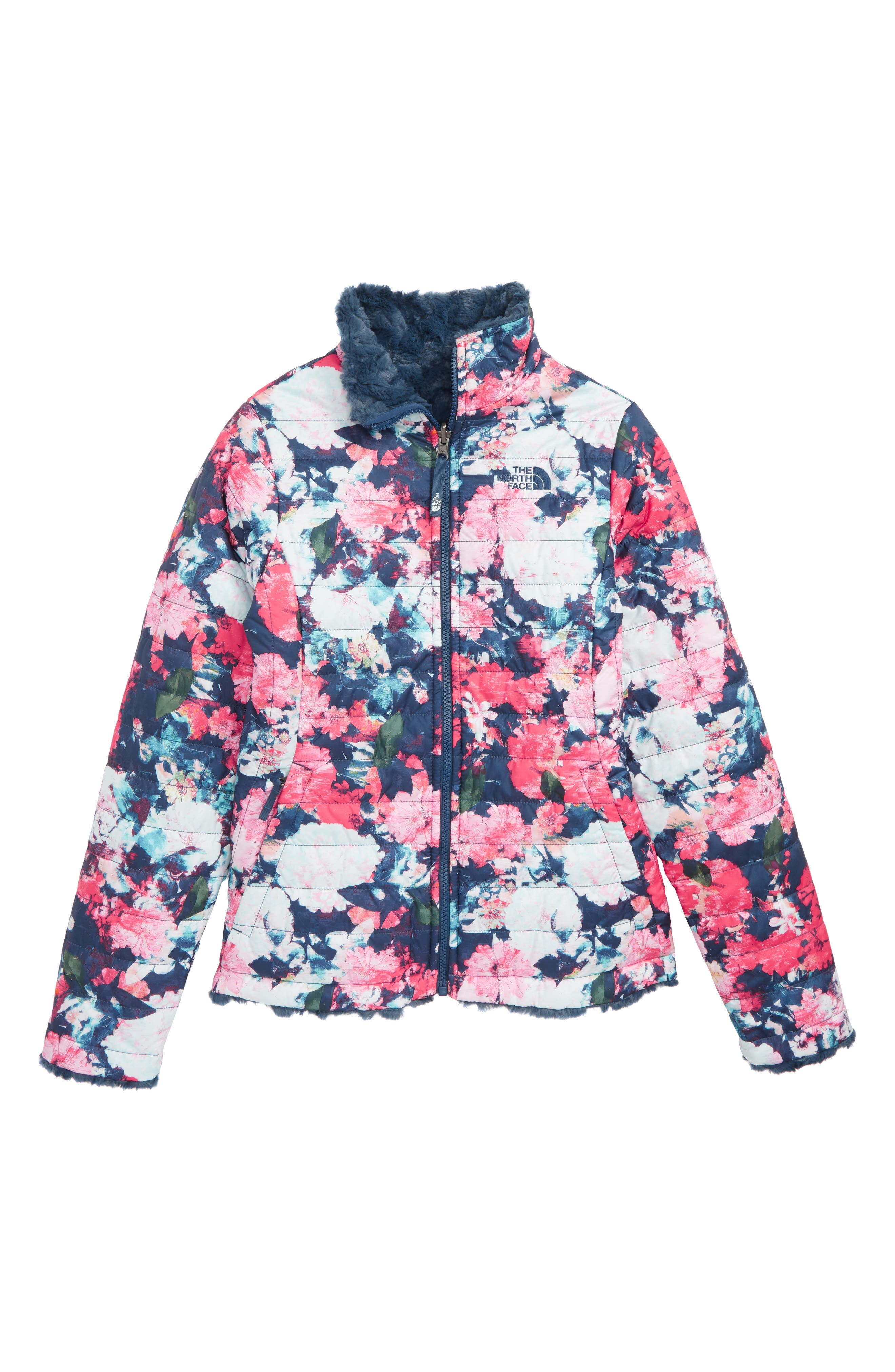 Girls The North Face Mossbud Swirl Reversible Water Repellent Jacket Size M (1012)  Pink