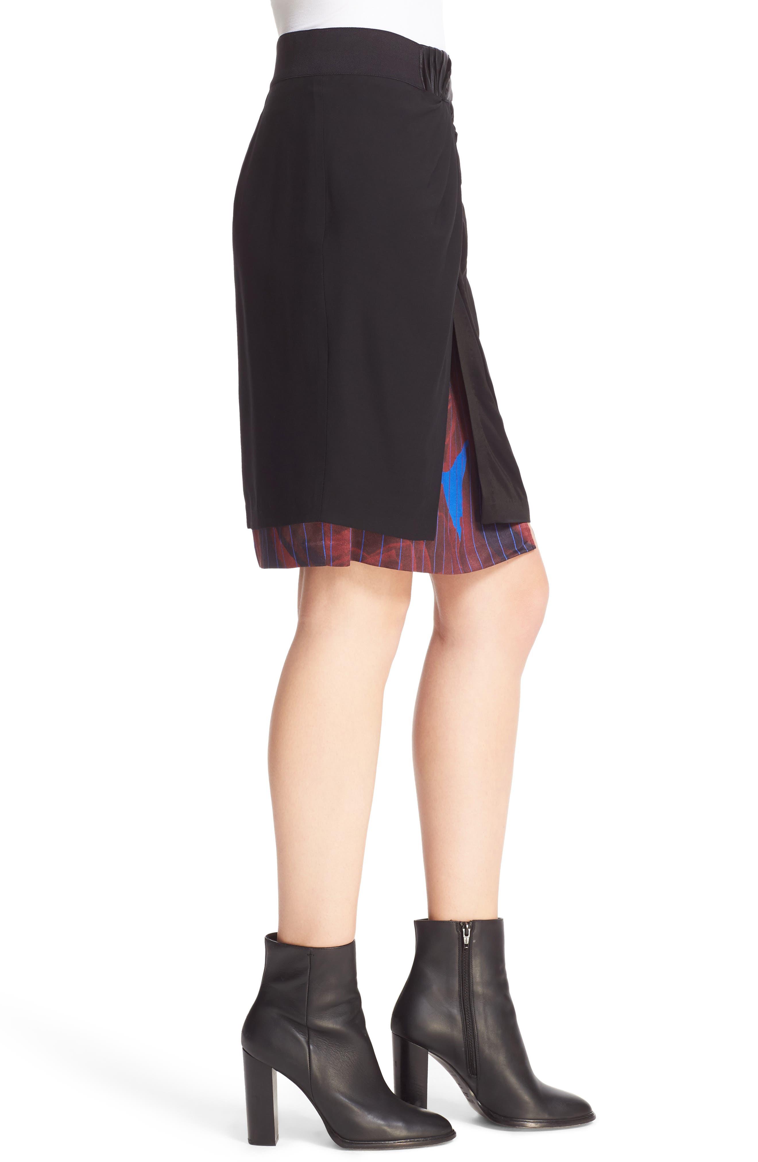 Asymmetrical Mixed Media Skirt,                             Alternate thumbnail 3, color,                             001