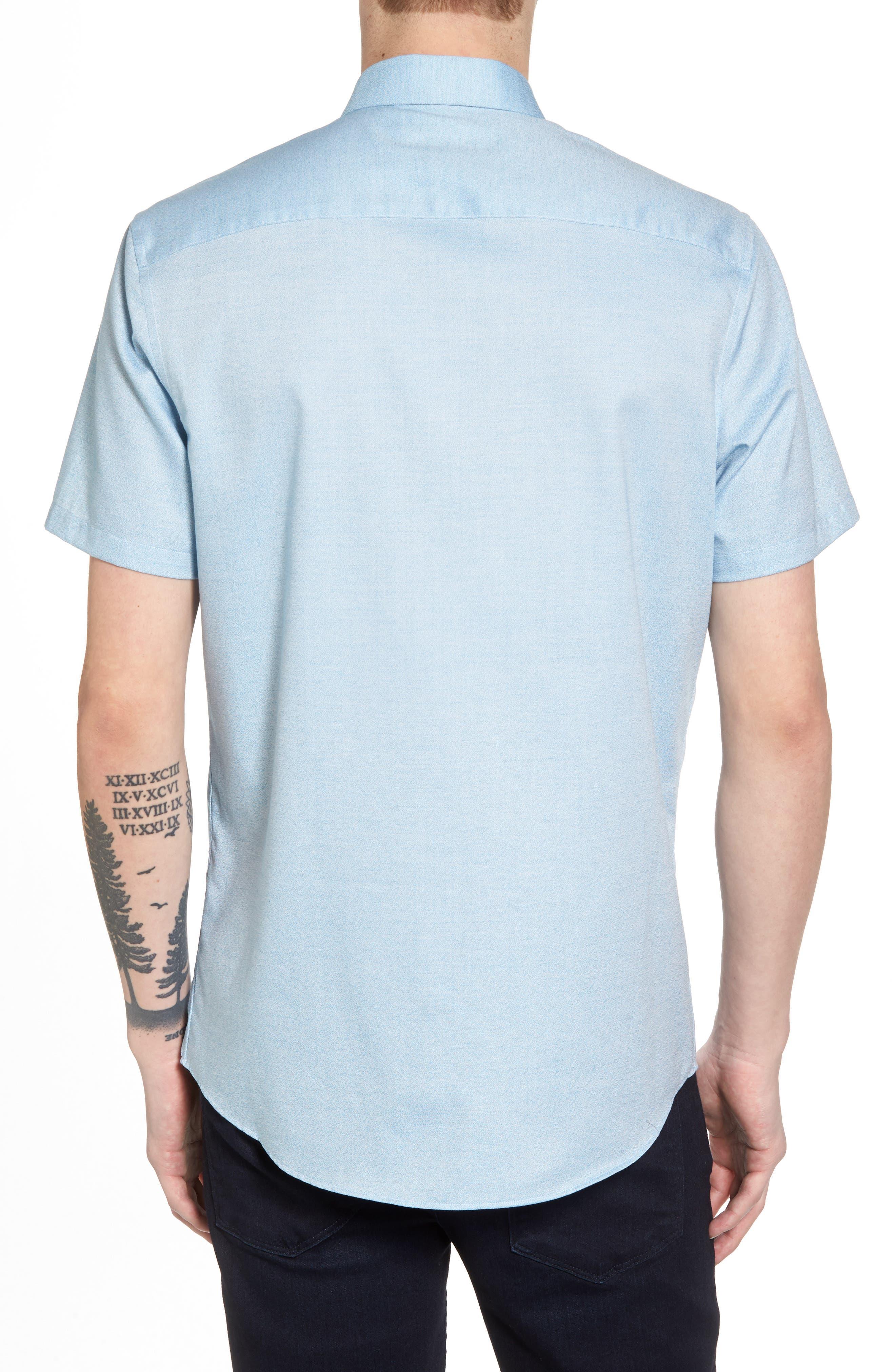 Trim Fit Jaspé Short Sleeve Sport Shirt,                             Alternate thumbnail 5, color,