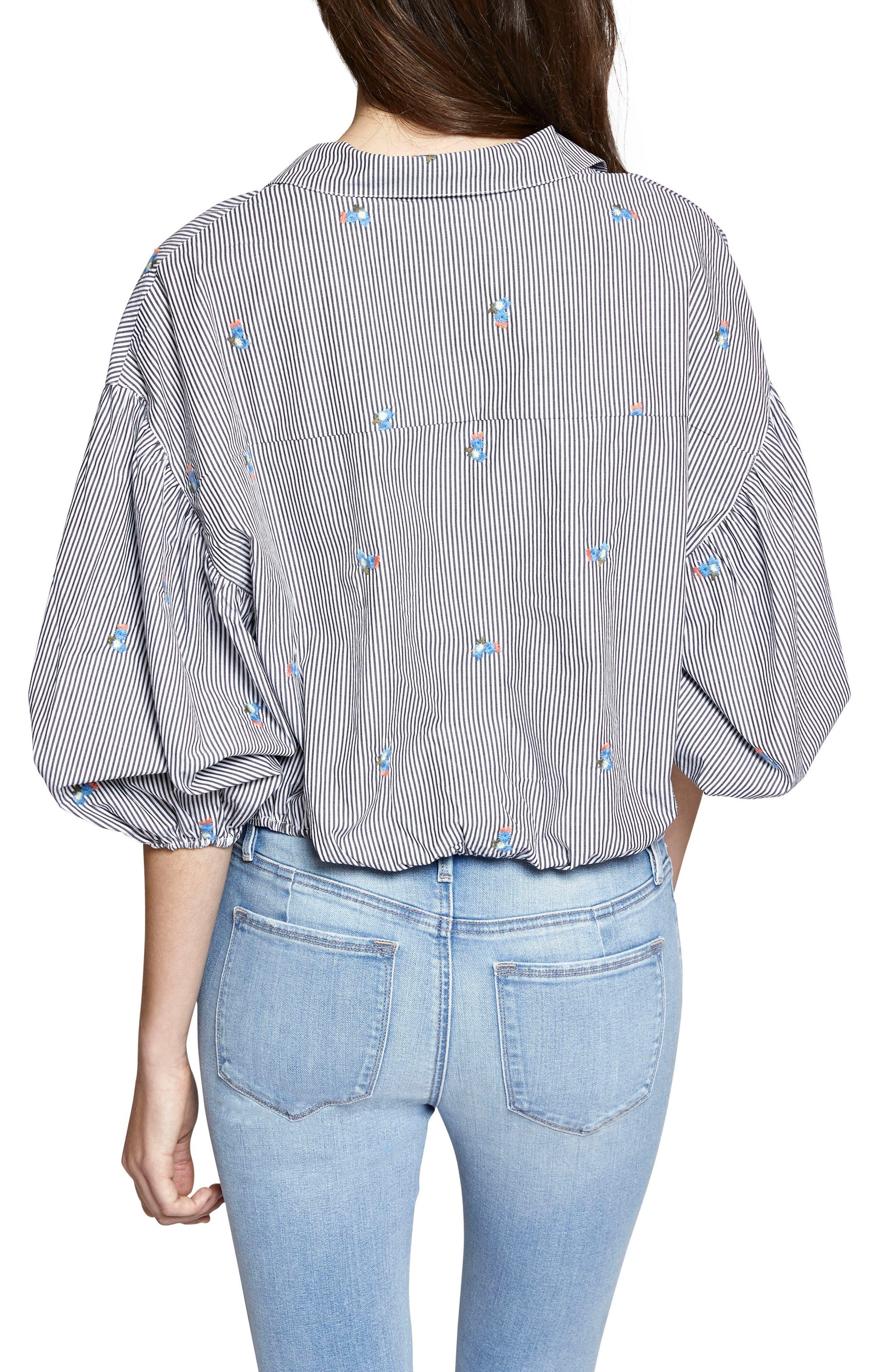 Clover Tie Front Cotton Shirt,                             Alternate thumbnail 3, color,