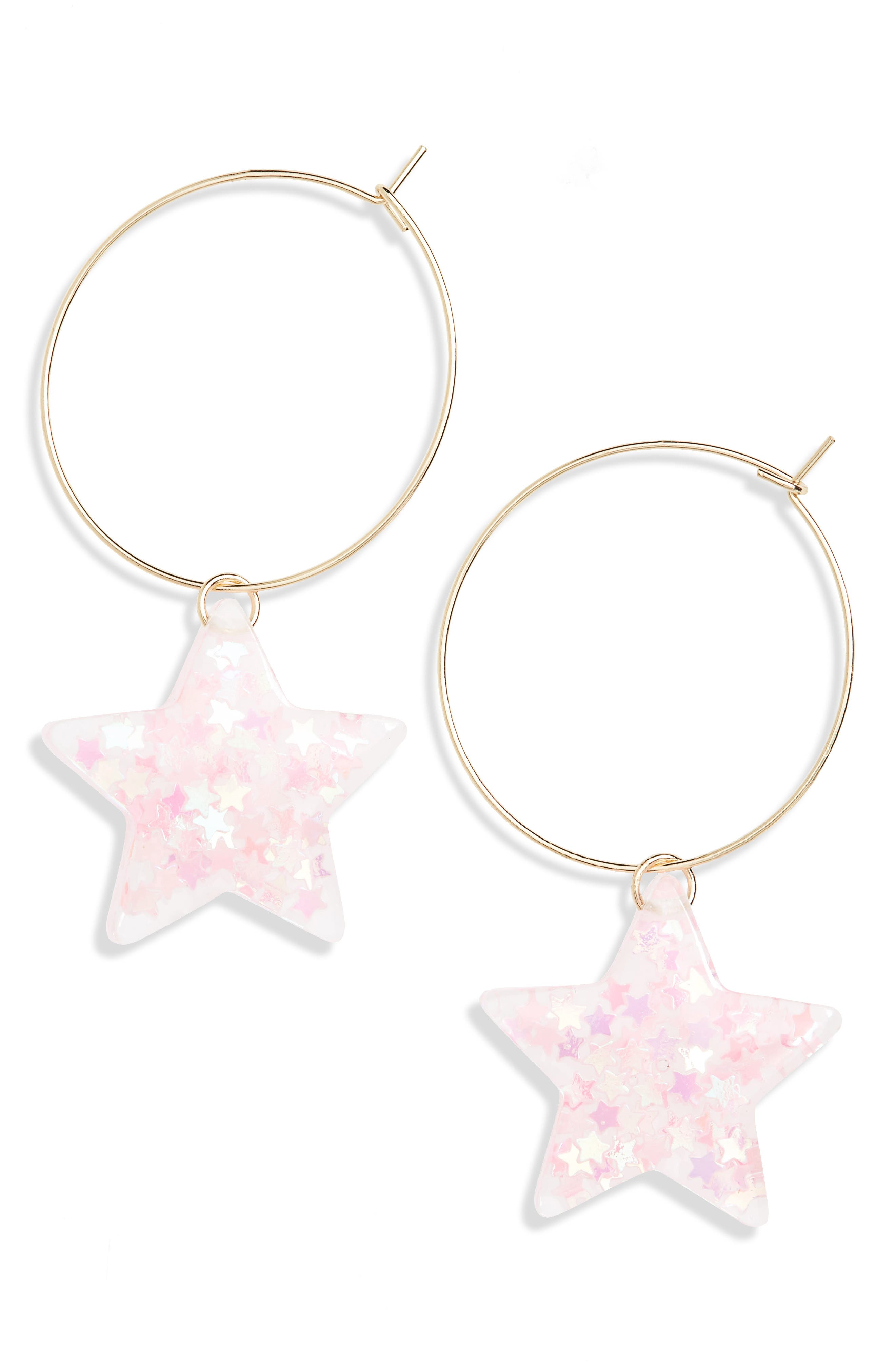Small Glitter Star Hoop Earrings,                             Main thumbnail 1, color,                             650