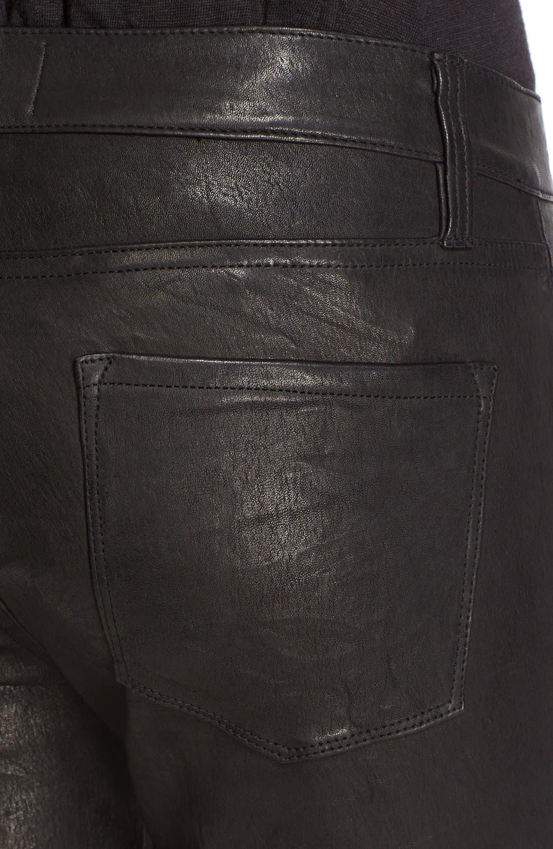 'Le Skinny' Lambskin Leather Pants,                             Alternate thumbnail 4, color,                             WASHED BLACK
