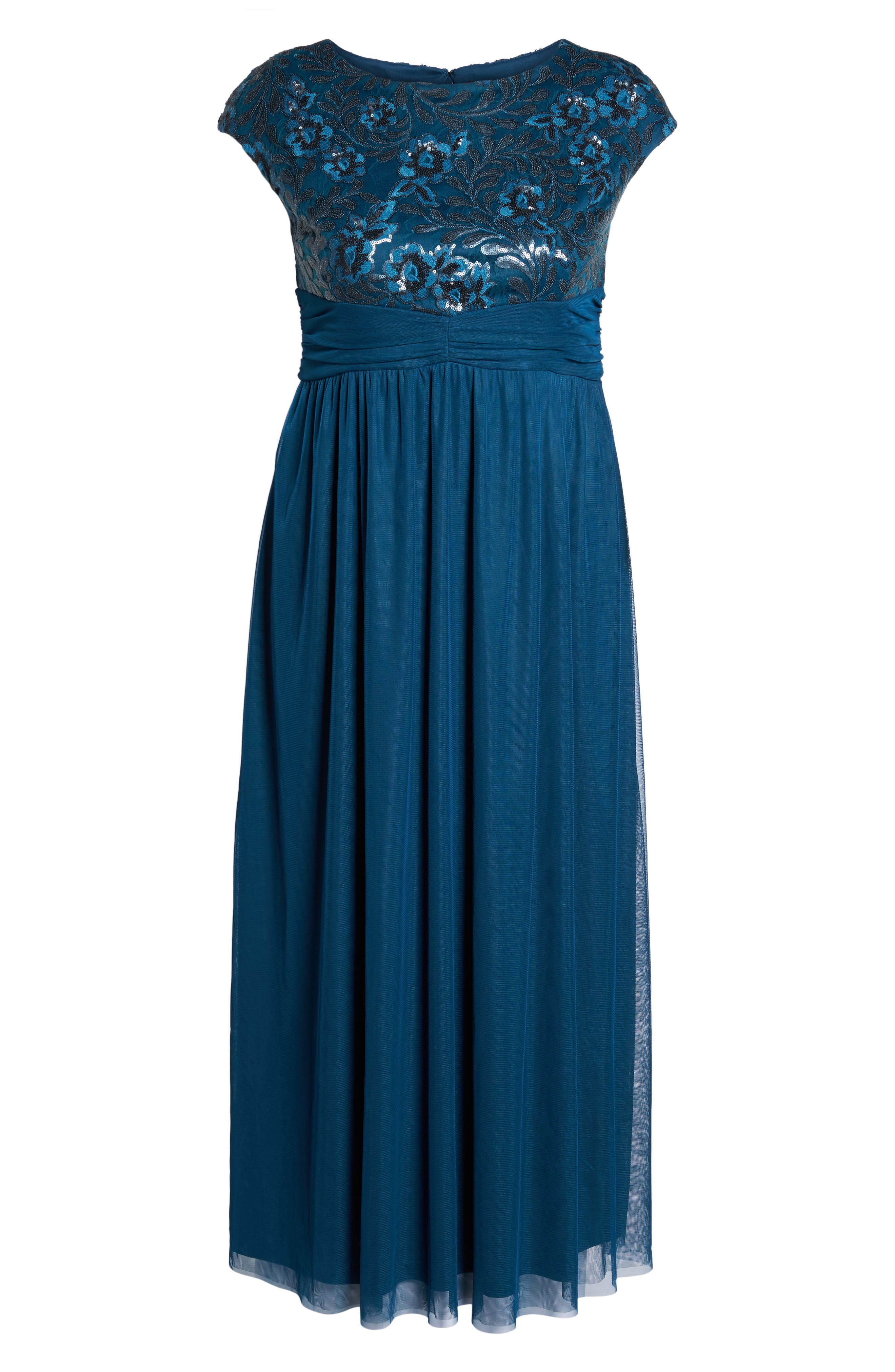 Embellished Cap Sleeve Gown,                             Alternate thumbnail 6, color,                             TEAL