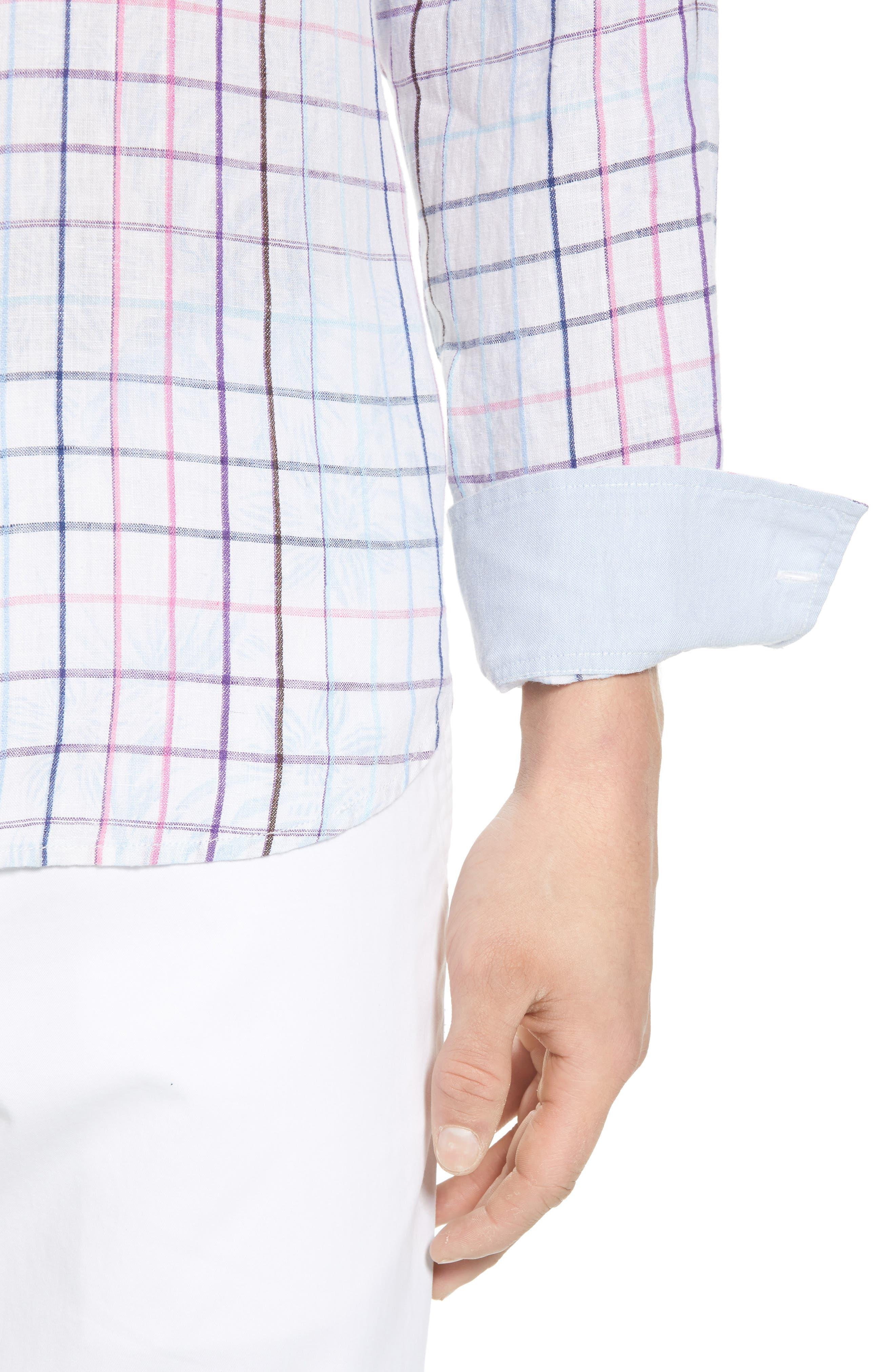 Tulum Terrace Check Linen Sport Shirt,                             Alternate thumbnail 4, color,                             BOWTIE BLUE