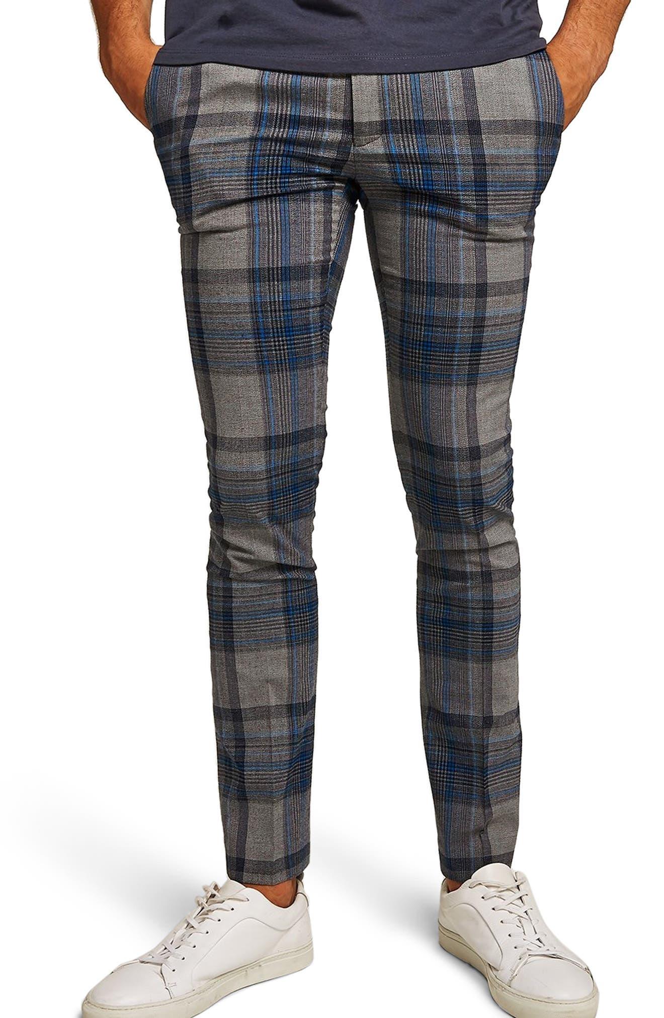 Ultra Skinny Fit Check Pants,                             Main thumbnail 1, color,                             020