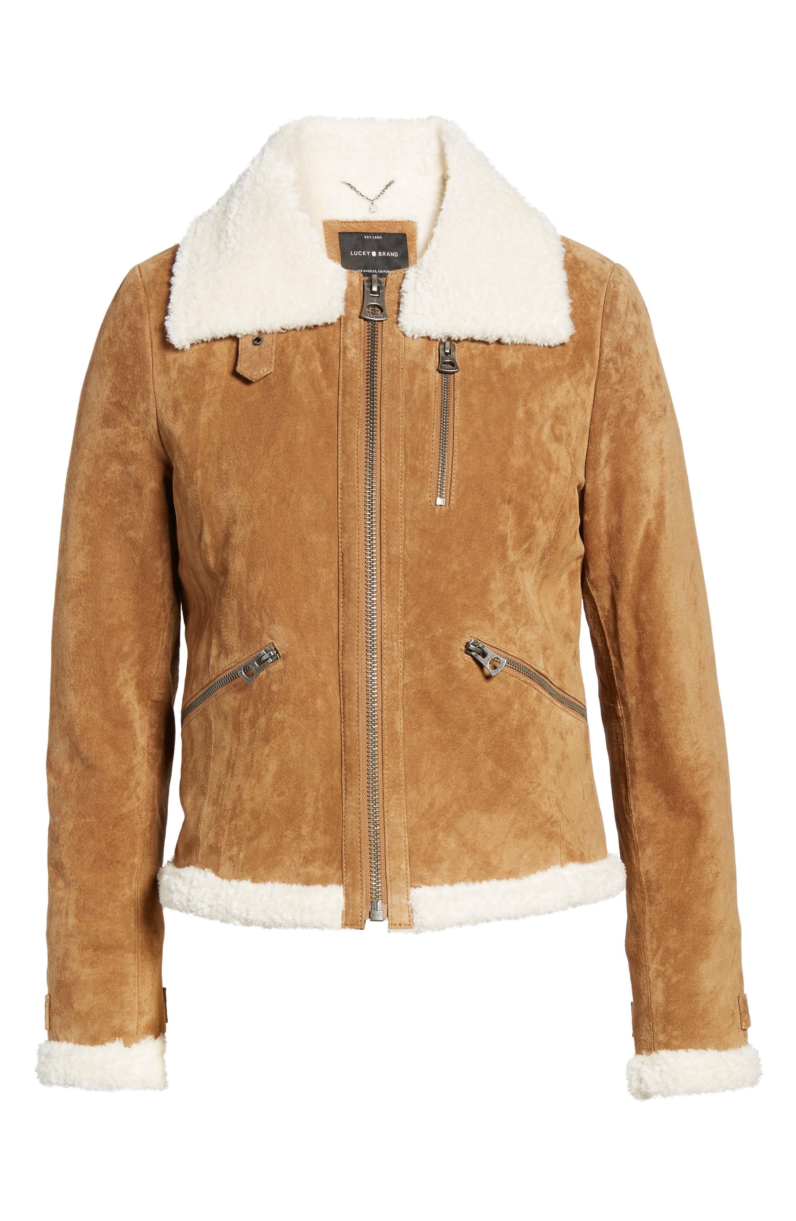 Leather Jacket with Faux Fur Trim,                             Alternate thumbnail 5, color,                             235