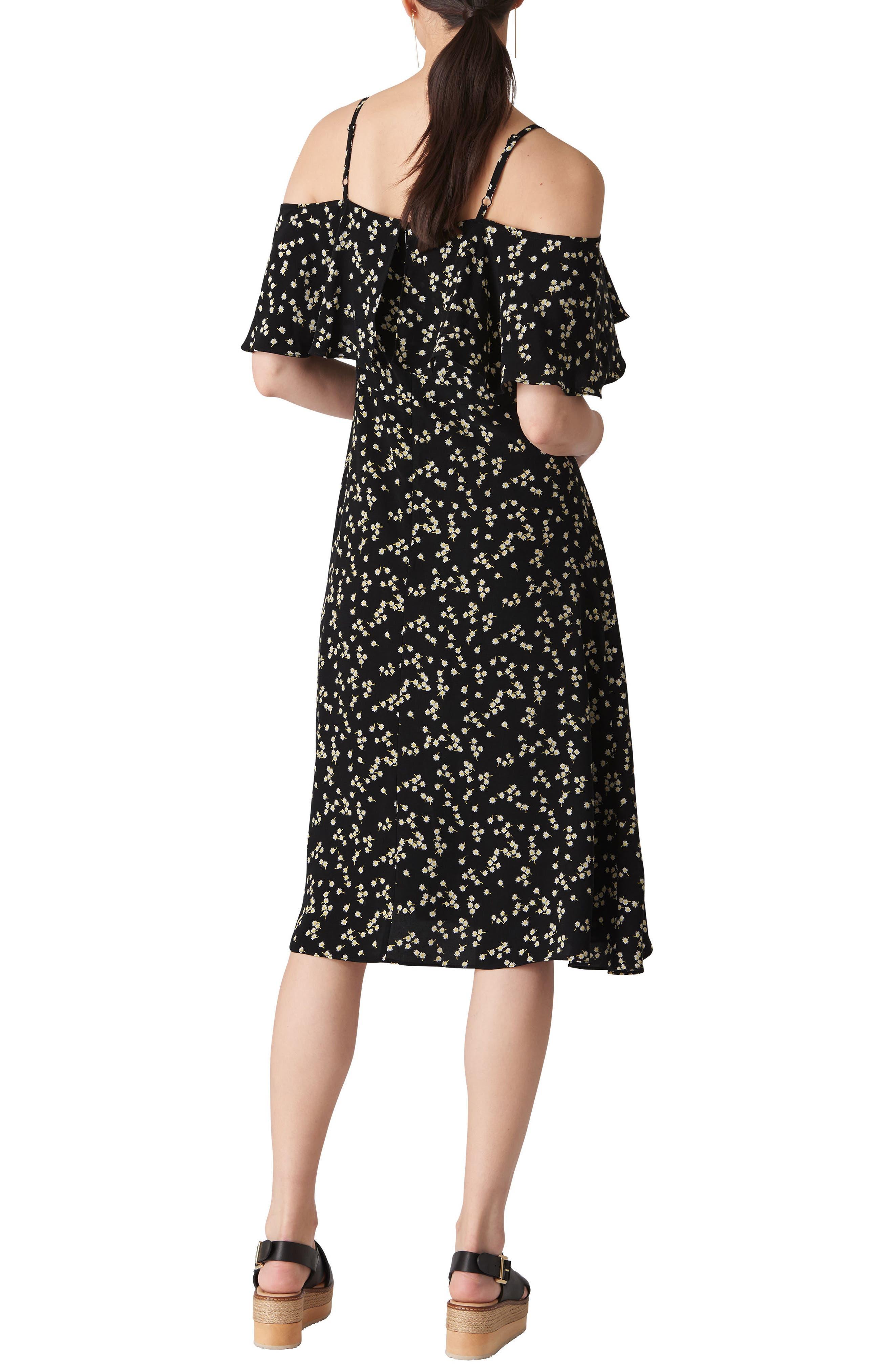 WHISTLES,                             Frill Cold Shoulder Dress,                             Alternate thumbnail 2, color,                             001