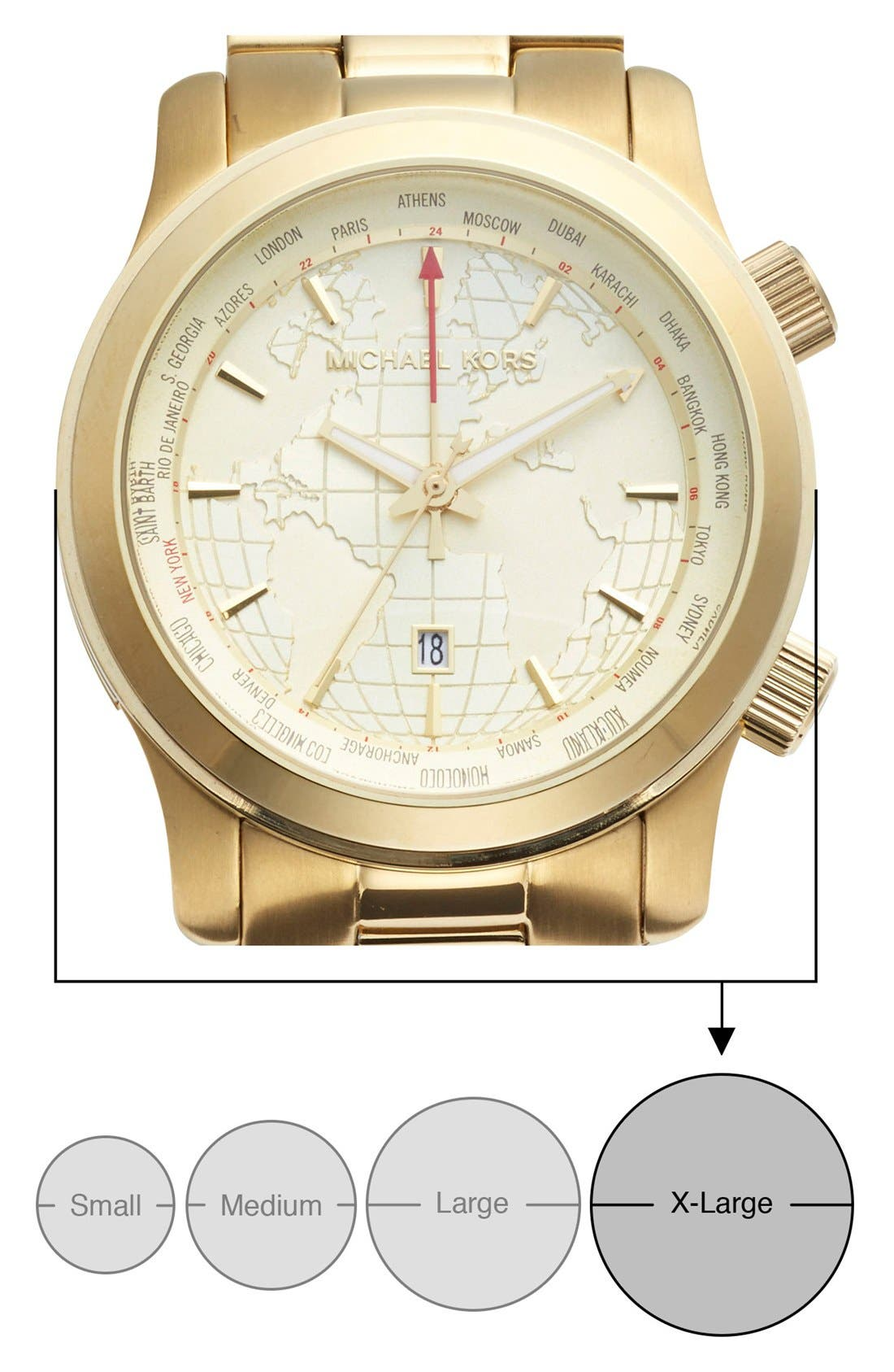 MICHAEL KORS,                             'Large Runway' Chronograph Bracelet Watch, 45mm,                             Alternate thumbnail 2, color,                             GOLD