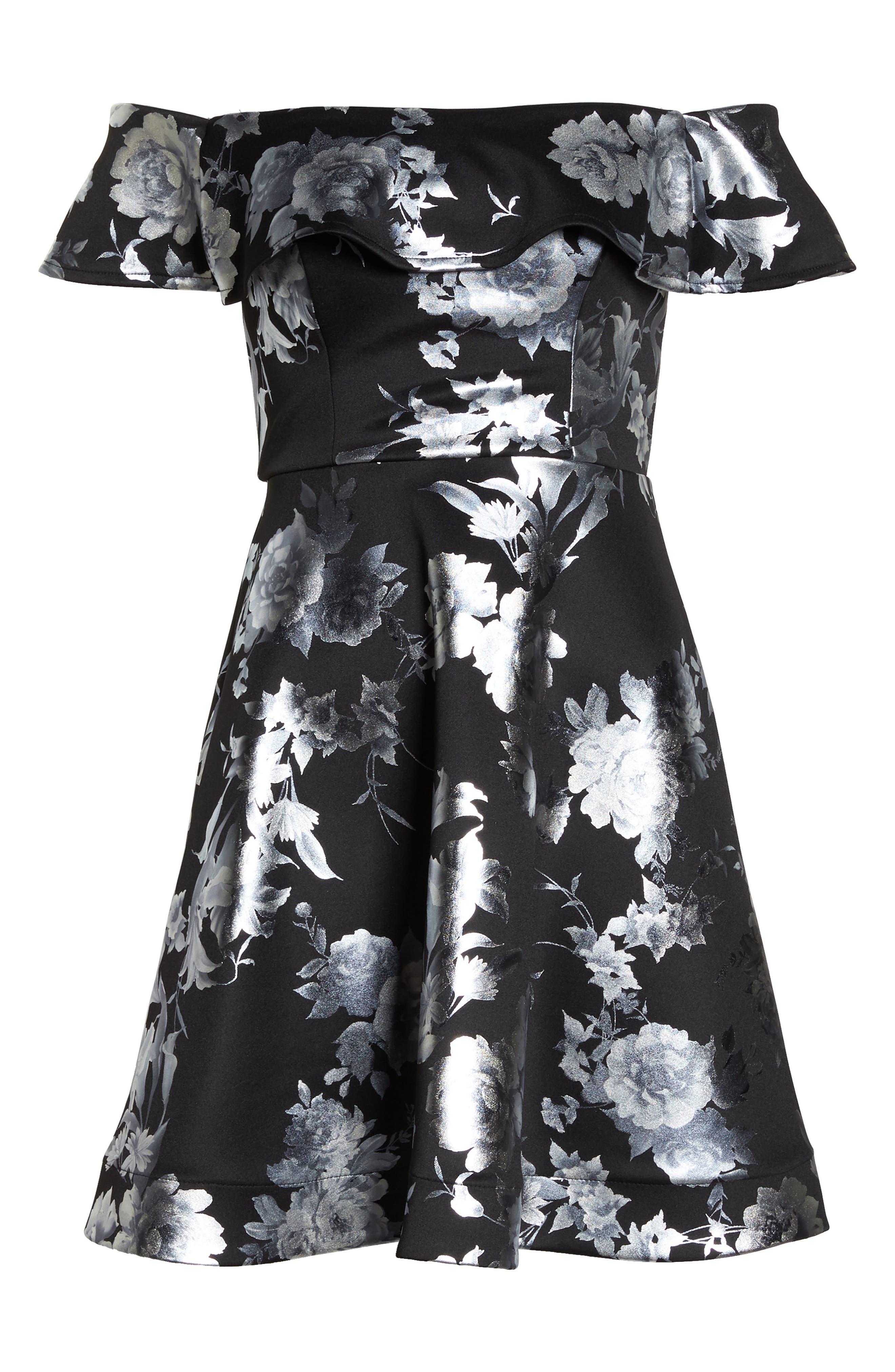 Off the Shoulder Foil Scuba Fit & Flare Dress,                             Alternate thumbnail 7, color,                             BLACK/ SILVER
