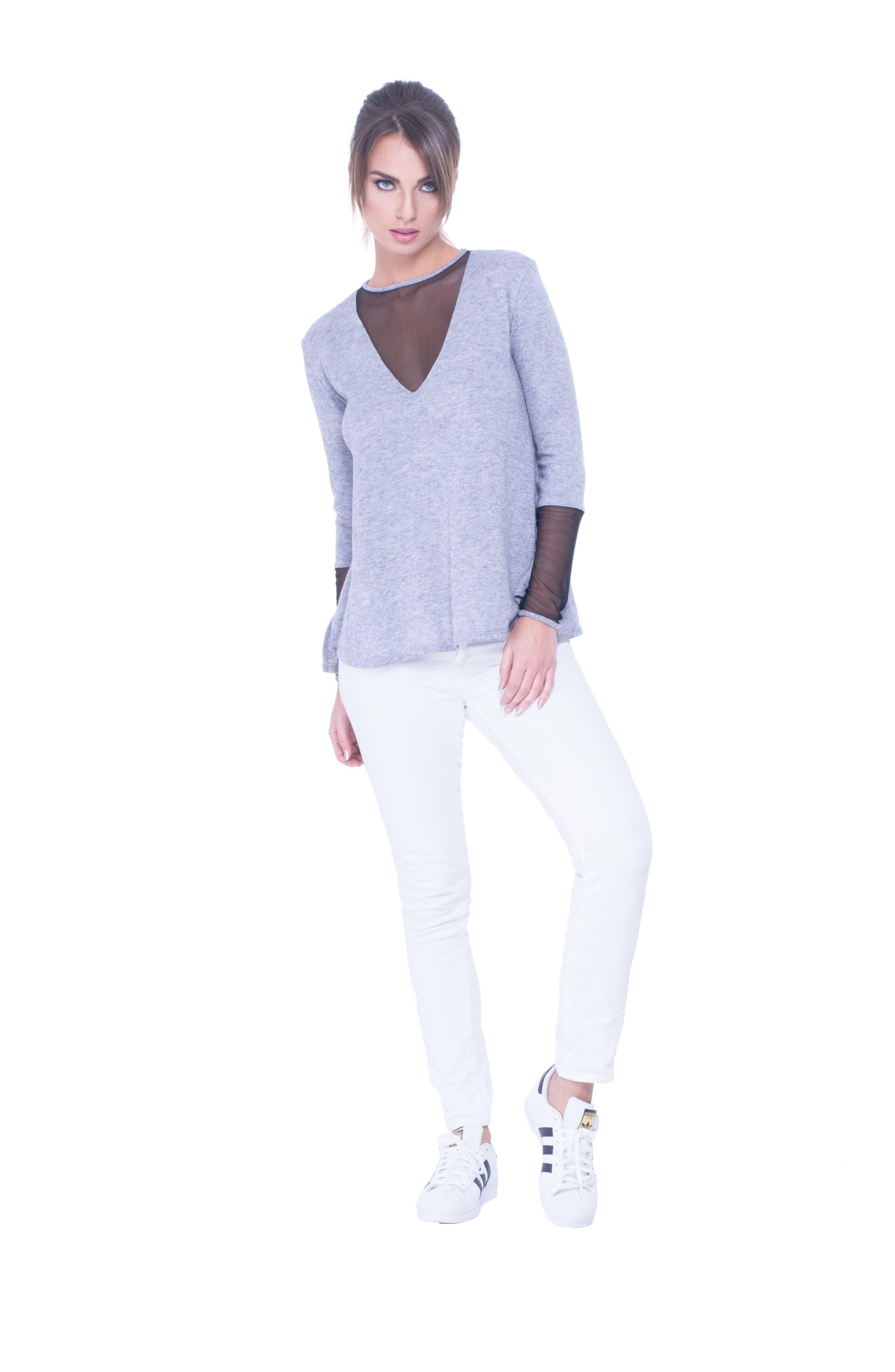 Valerie Mesh Detail Maternity Sweater,                             Alternate thumbnail 4, color,                             GLACIER GREY