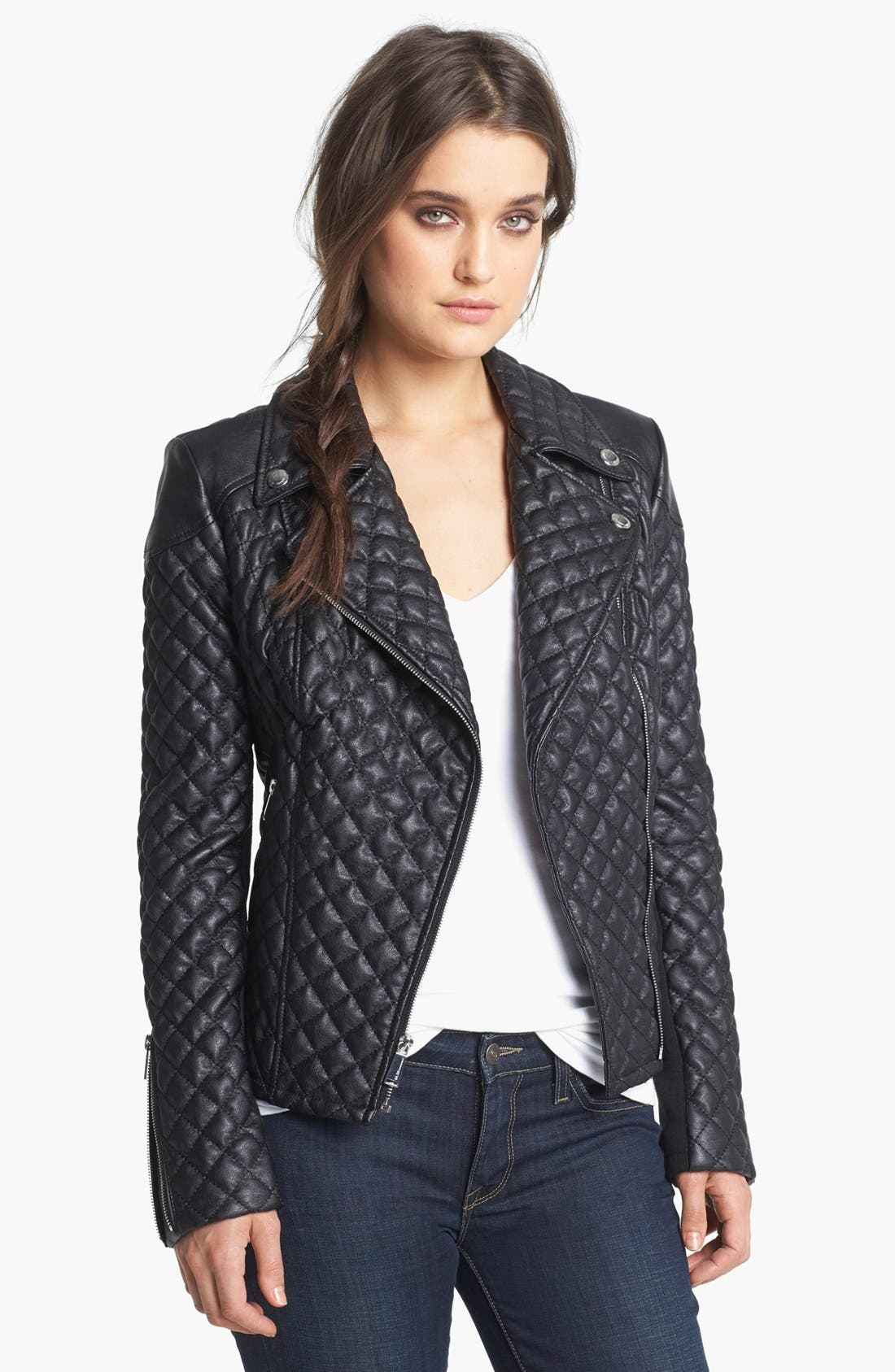Quilted Faux Leather Moto Jacket, Main, color, 001
