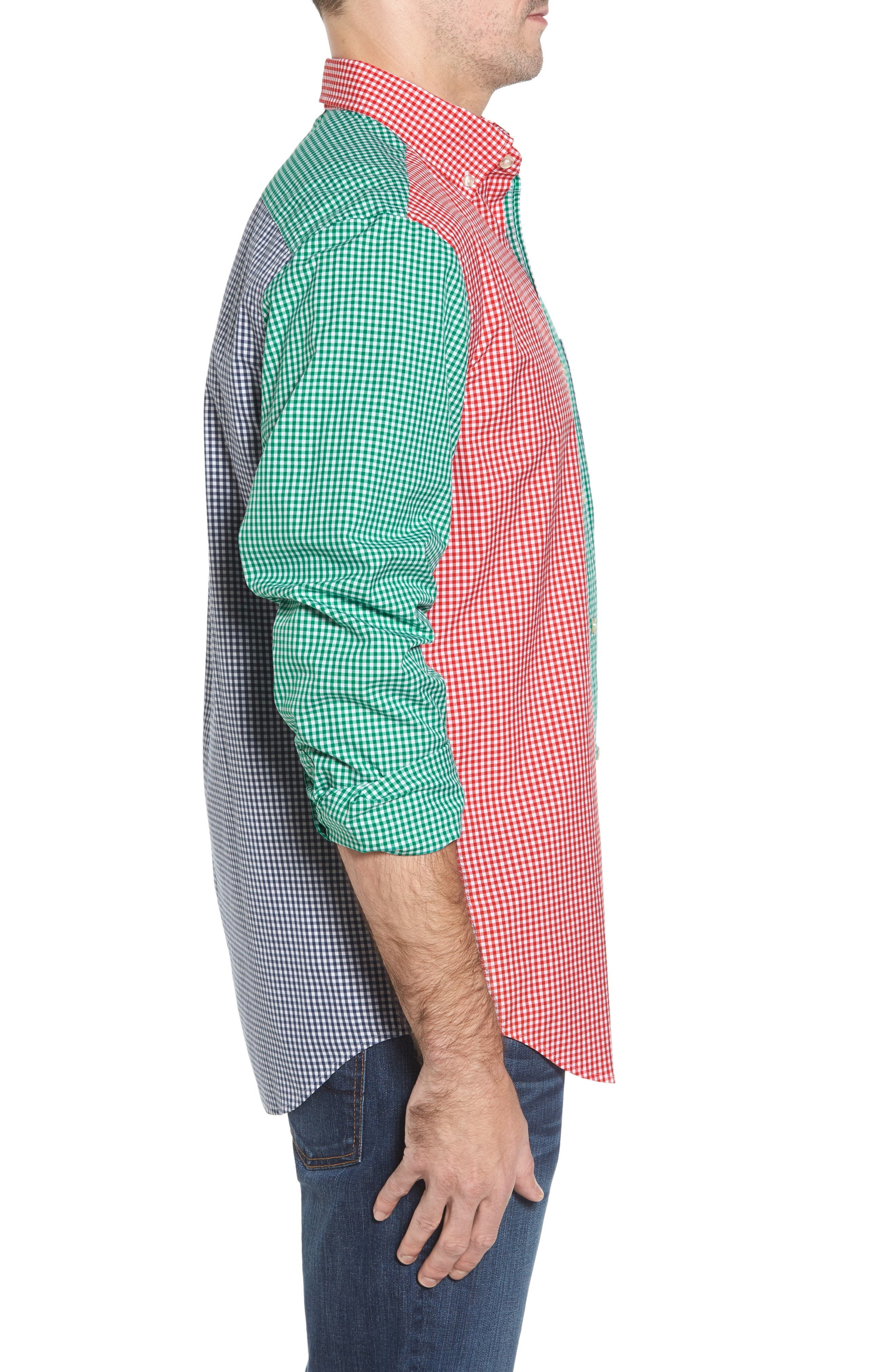 Holiday Party Classic Fit Colorblock Sport Shirt,                             Alternate thumbnail 3, color,                             600