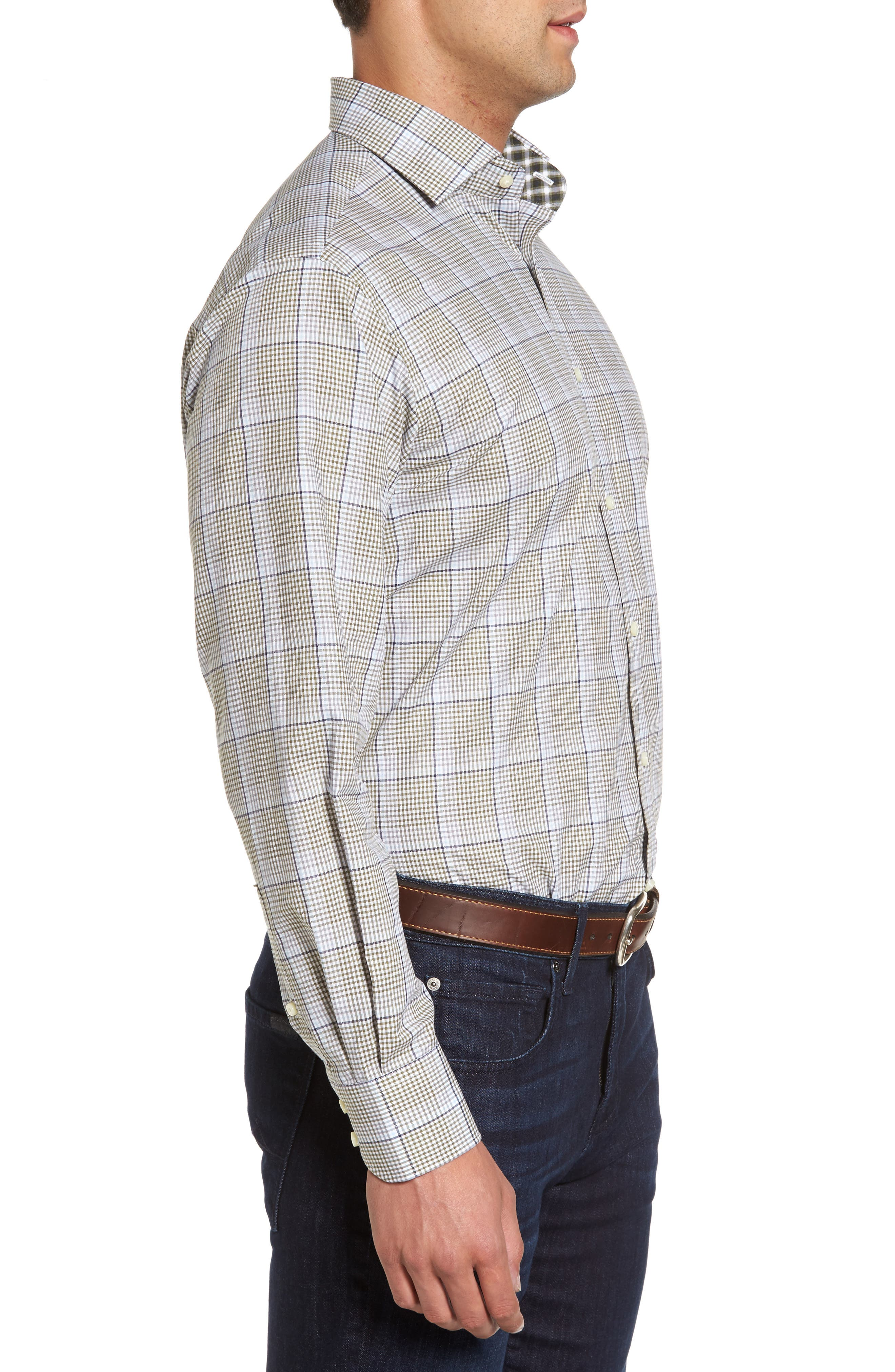Diamond Regular Fit Dobby Check Sport Shirt,                             Alternate thumbnail 3, color,                             300
