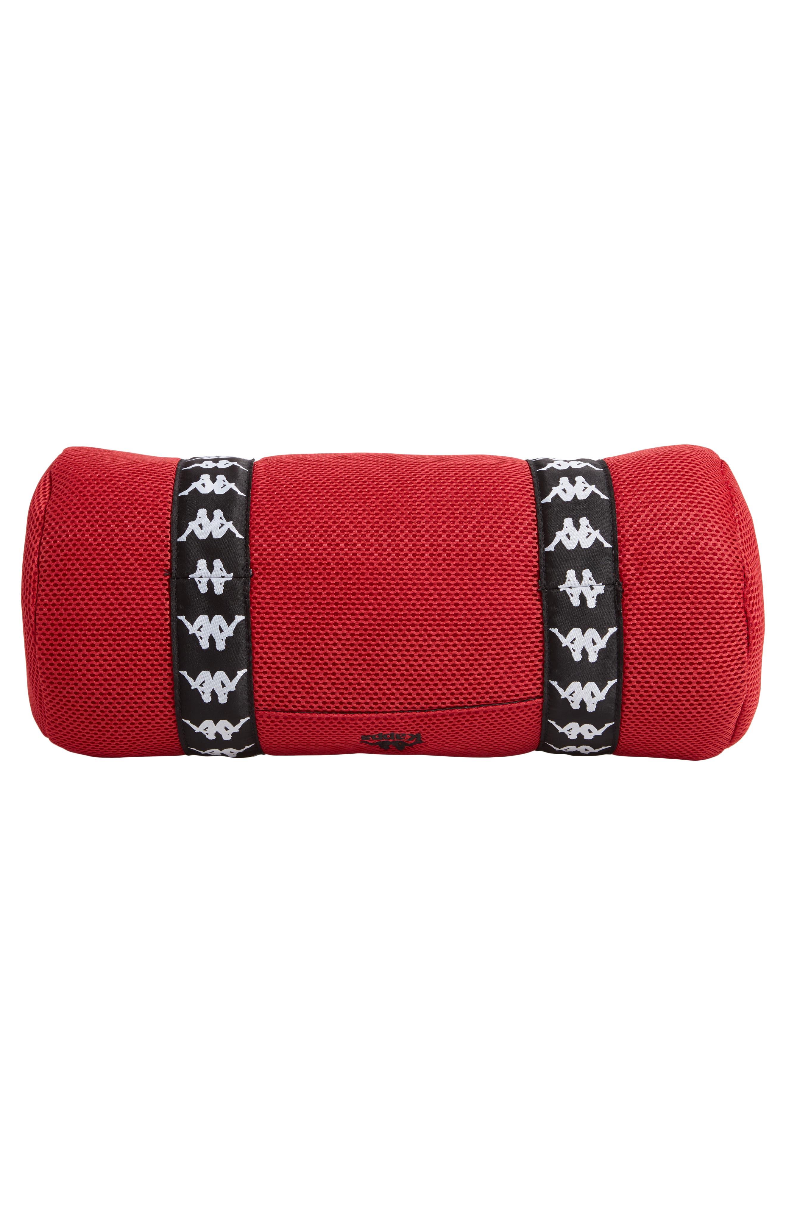 Large Mesh Athletic Duffel Bag,                             Alternate thumbnail 6, color,                             RED DK-BLACK-WHITE