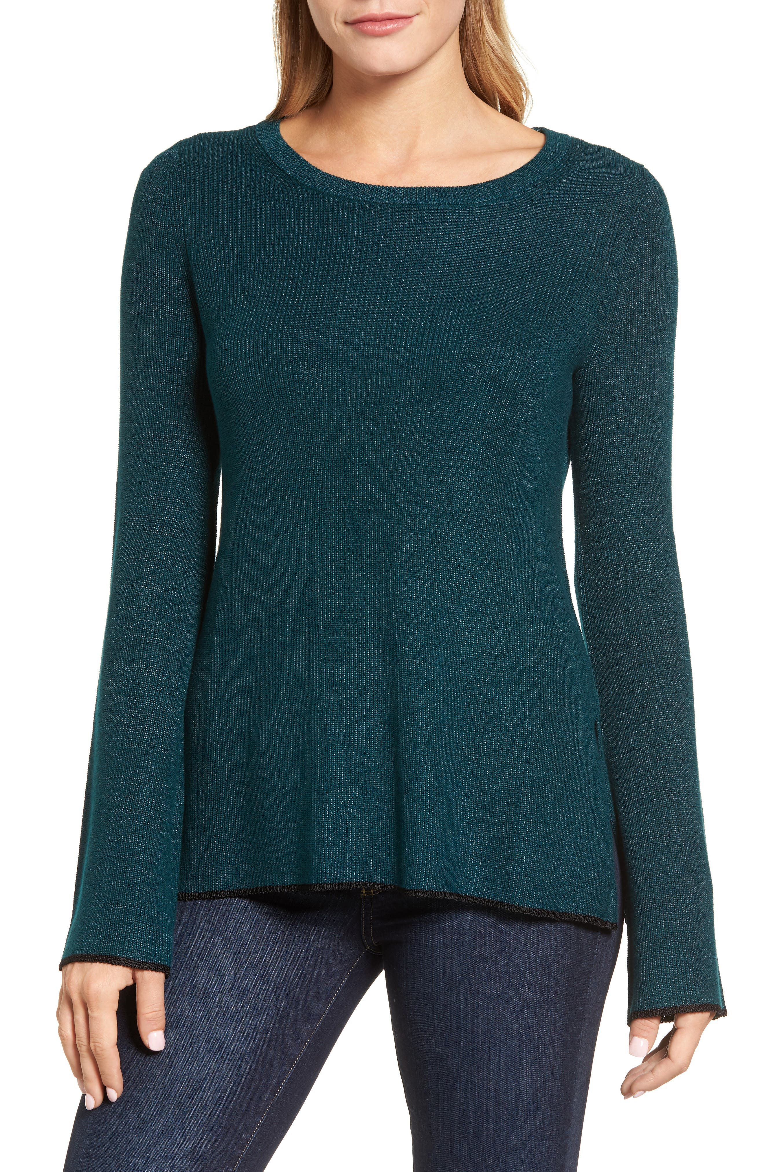 Tipped Bell Sleeve Sweater,                             Main thumbnail 5, color,