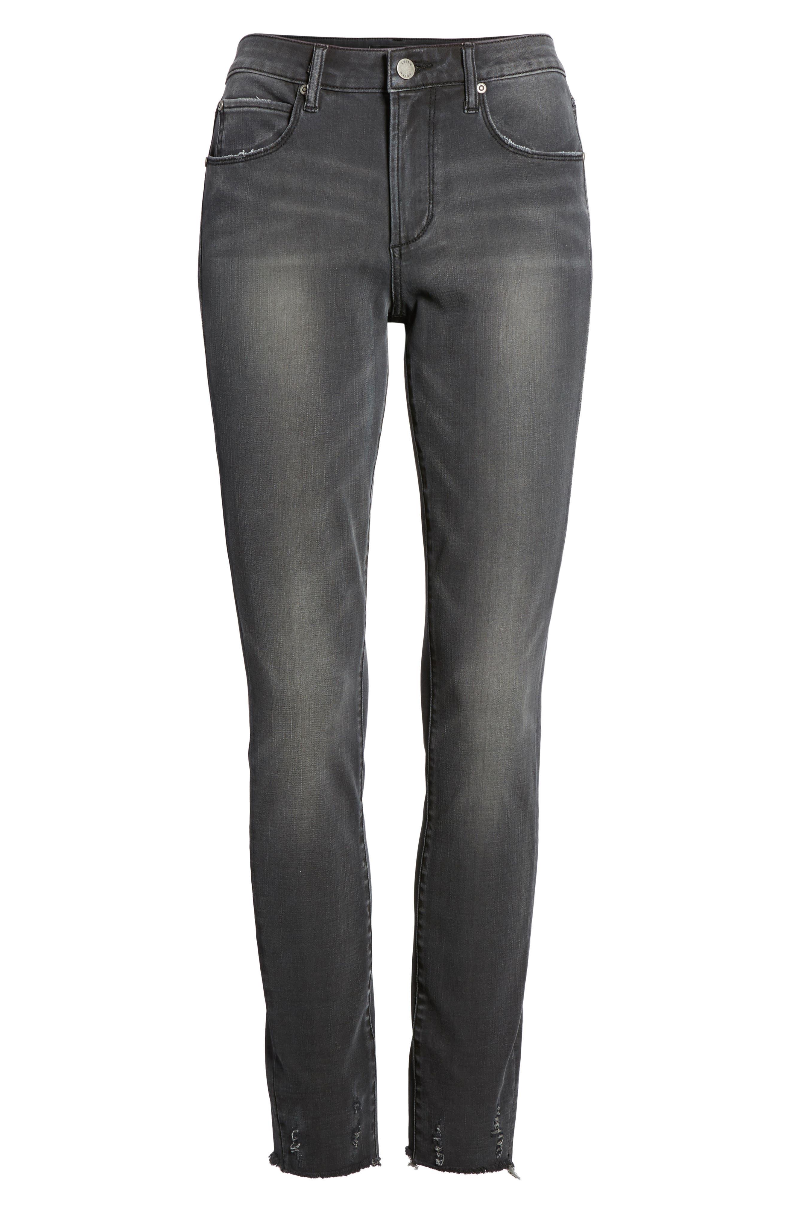 Frayed Hem Skinny Jeans,                             Alternate thumbnail 6, color,