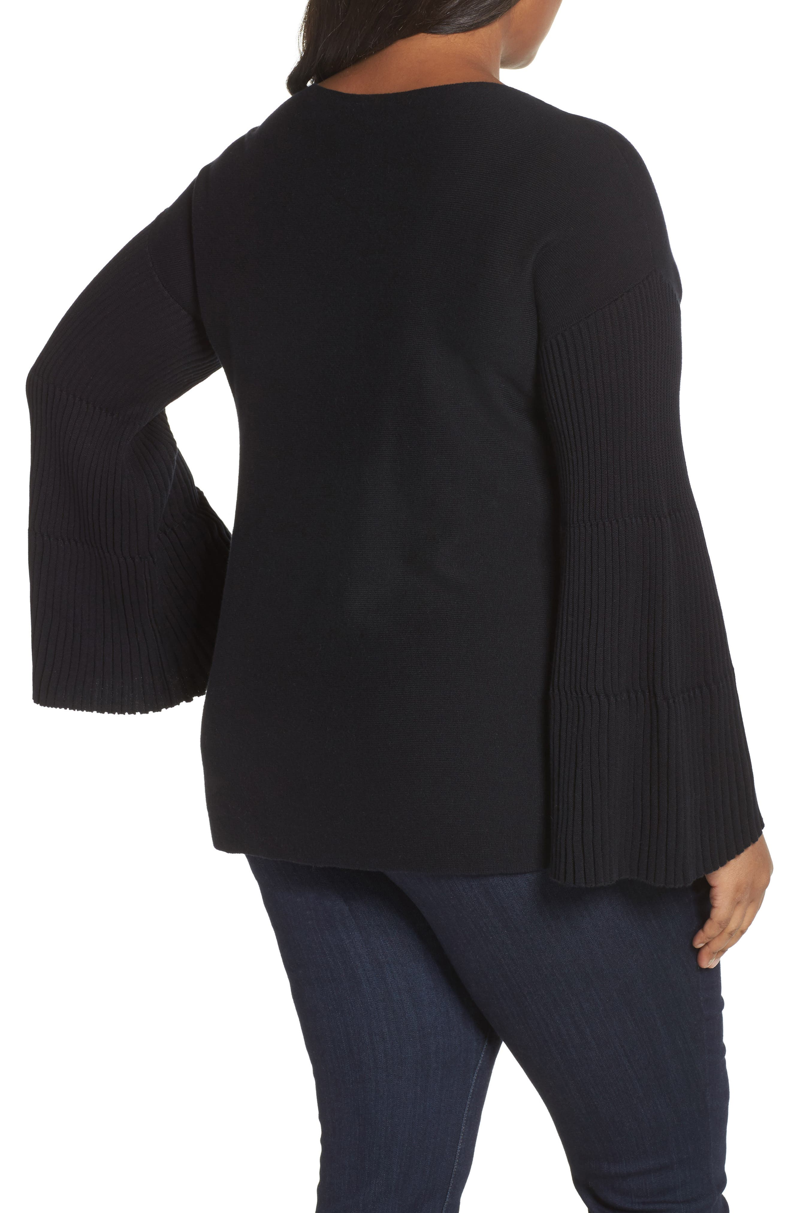 Ribbed Bell Sleeve Sweater,                             Alternate thumbnail 2, color,                             019