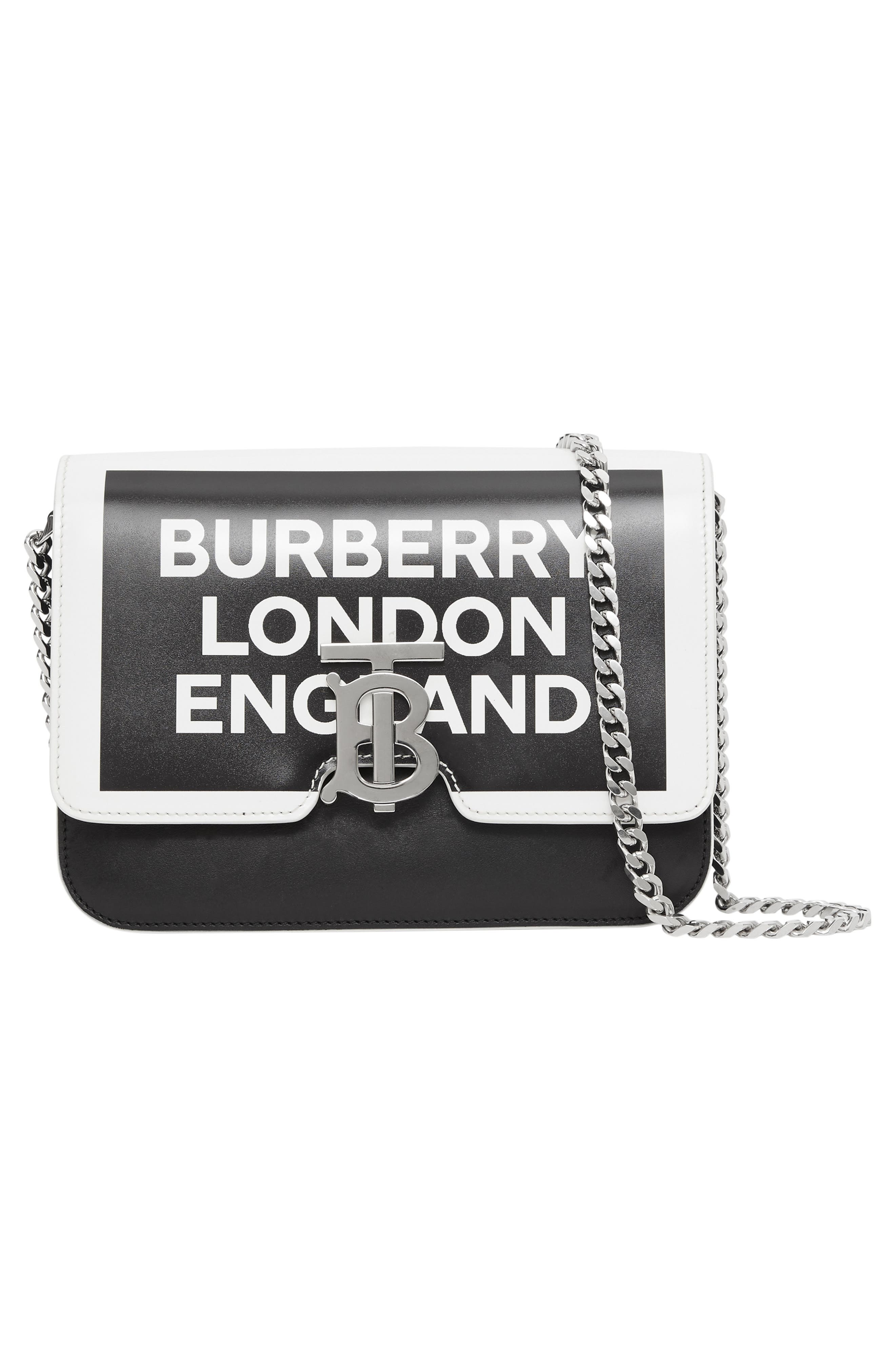 BURBERRY,                             Small Painted Edge Logo TB Crossbody Bag,                             Alternate thumbnail 8, color,                             BLACK/ WHITE