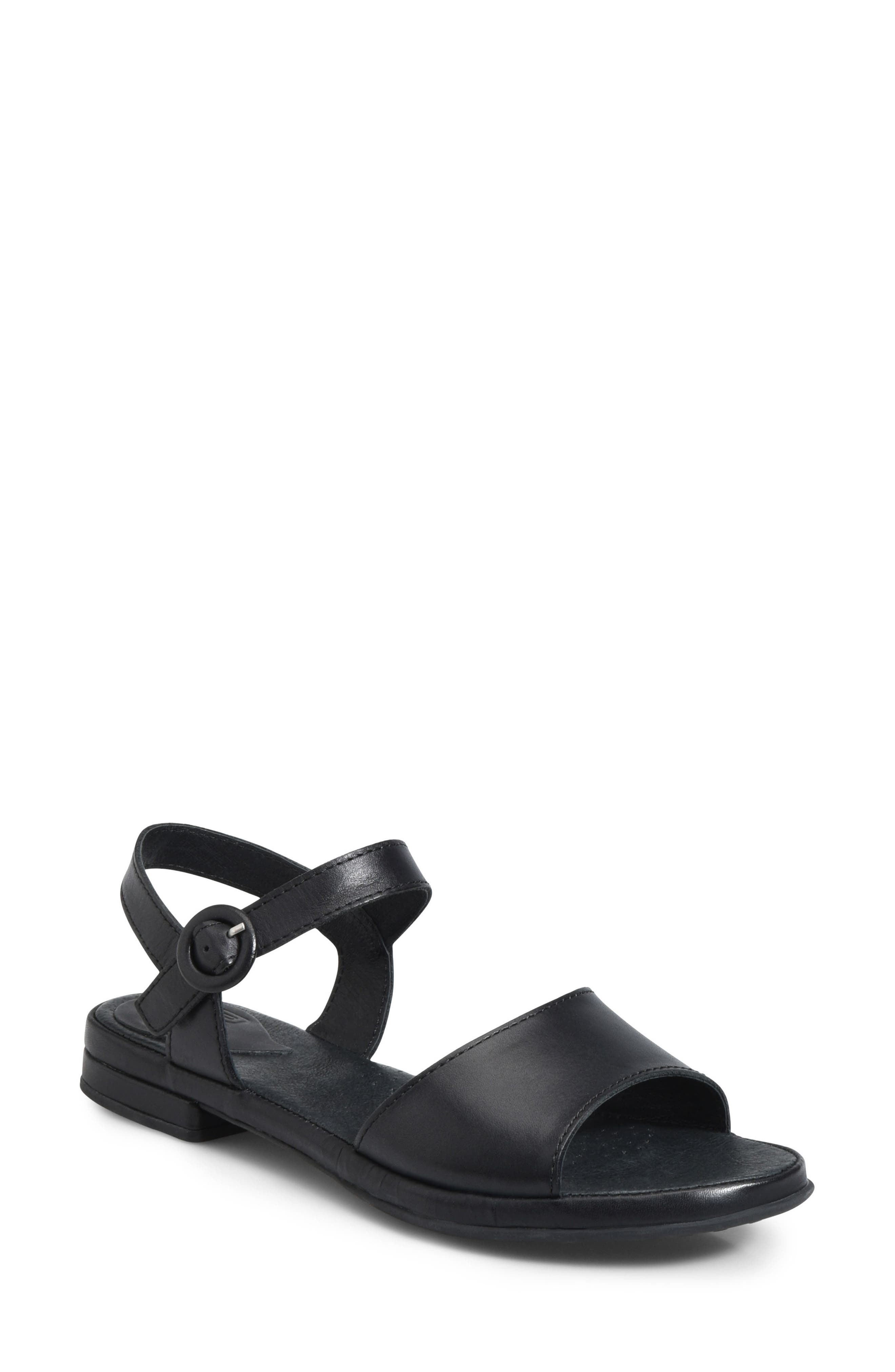 Berry Sandal,                         Main,                         color, BLACK LEATHER