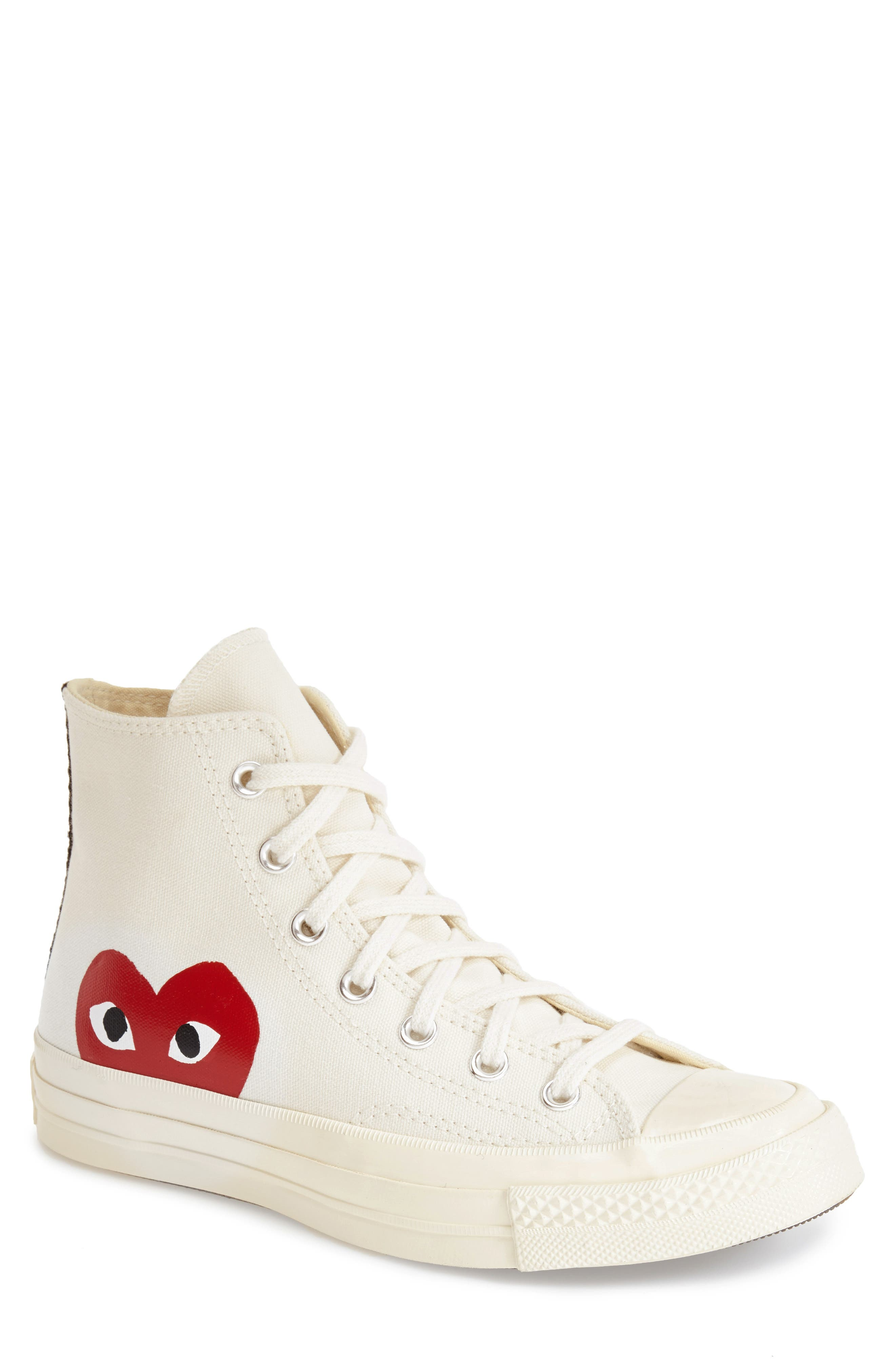 COMME DES GARÇONS,                             PLAY x Converse Chuck Taylor<sup>®</sup> Hidden Heart High Top Sneaker,                             Main thumbnail 1, color,                             WHITE CANVAS