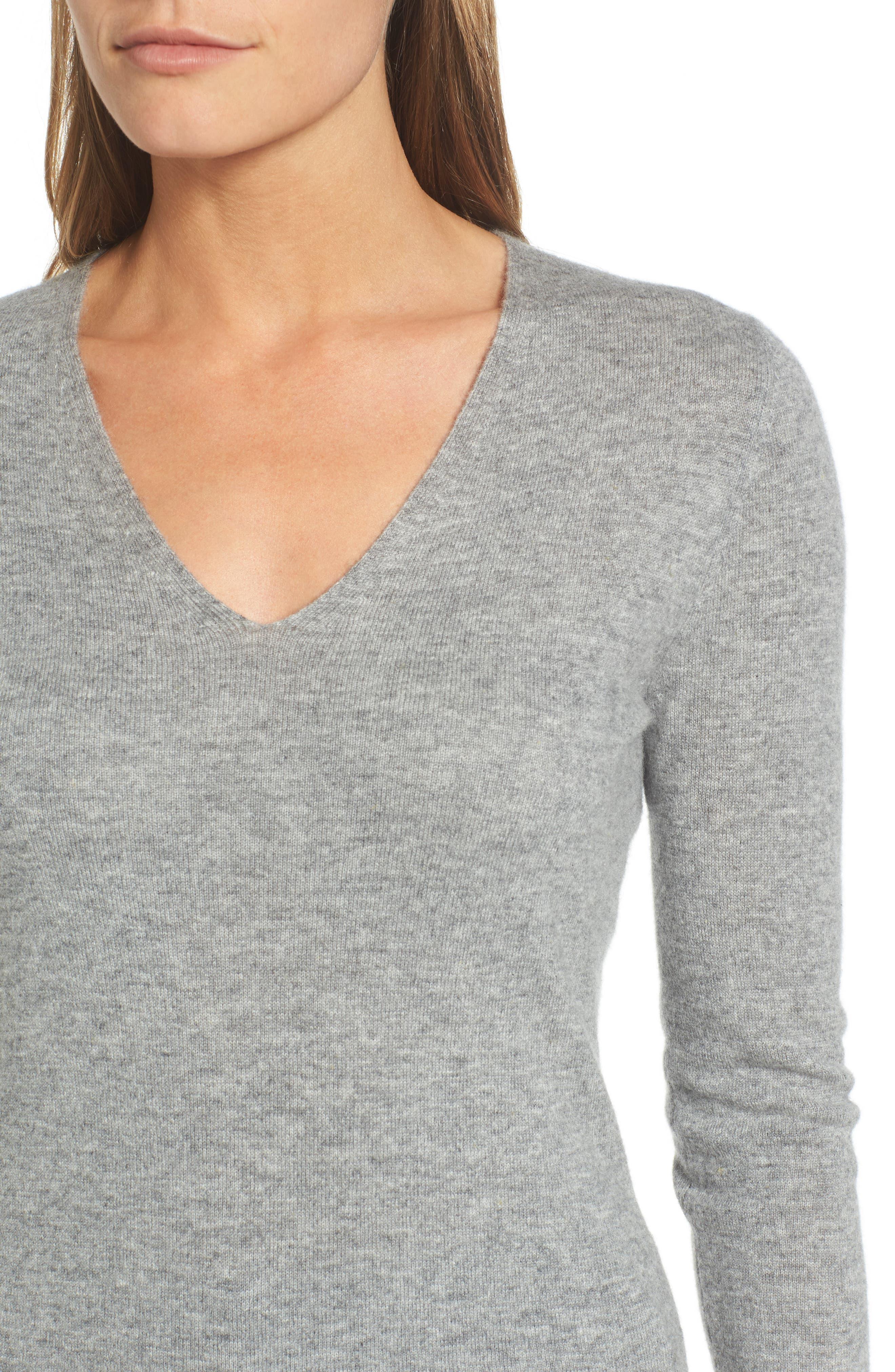 Cashmere V-Neck Sweater,                             Alternate thumbnail 4, color,                             030