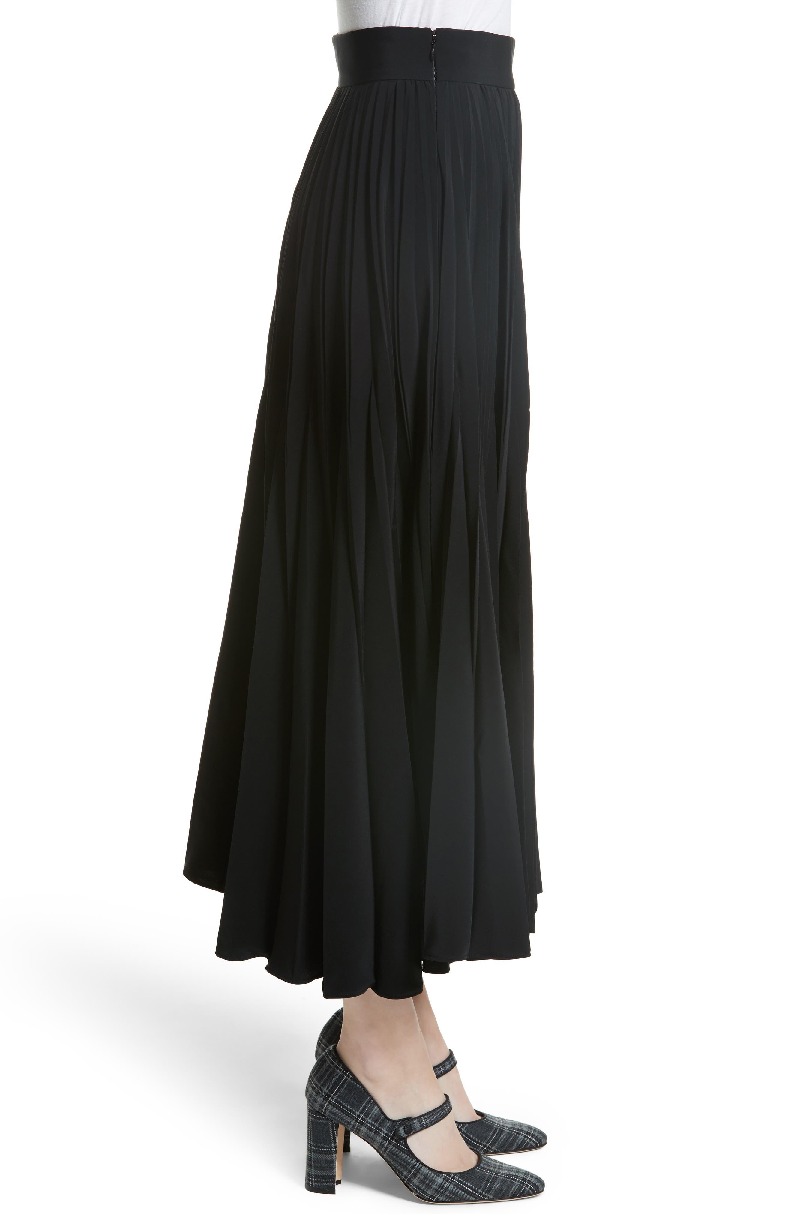 Pleated Stretch Crepe Midi Skirt,                             Alternate thumbnail 3, color,                             001