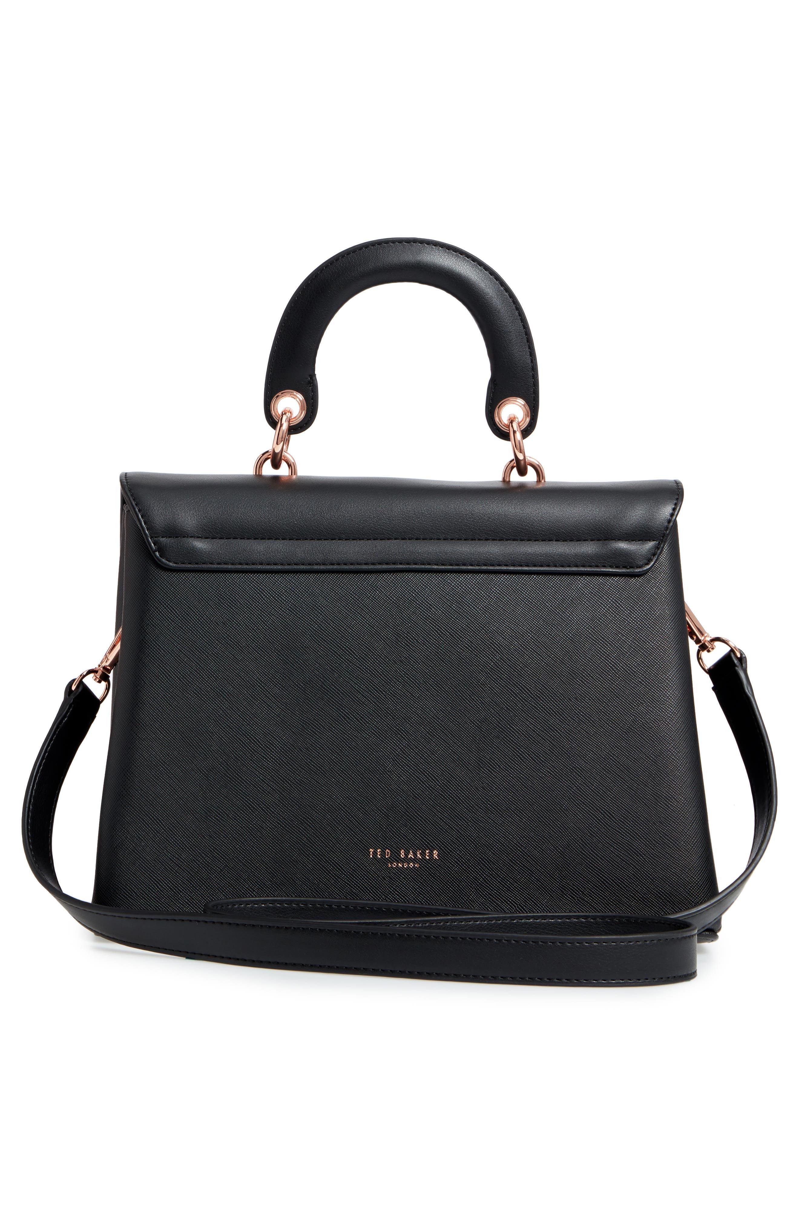 Keiira Lady Bag Faux Leather Top Handle Satchel,                             Alternate thumbnail 3, color,                             001