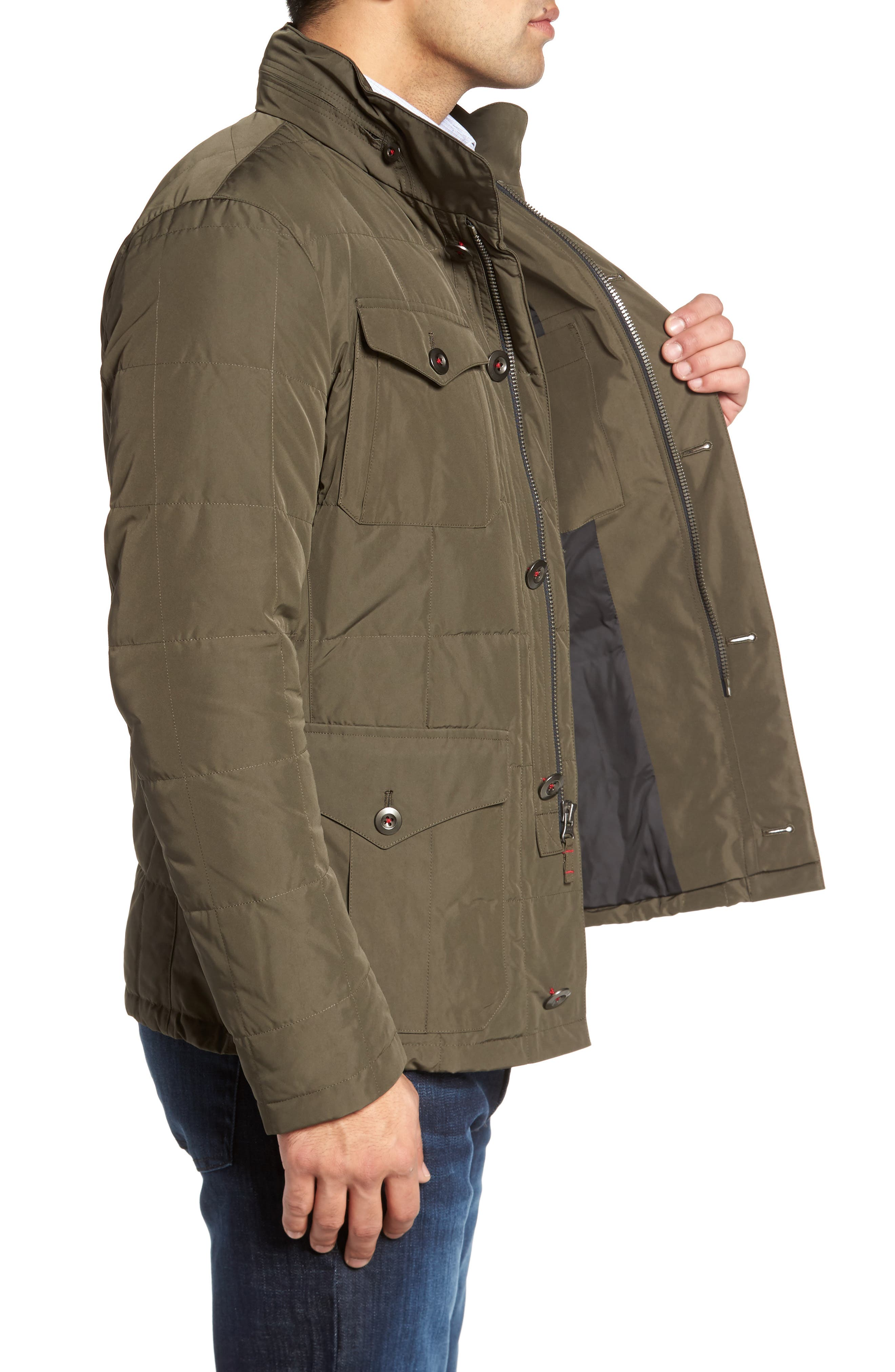 Quilted Down Field Jacket with Stowaway Hood,                             Alternate thumbnail 5, color,