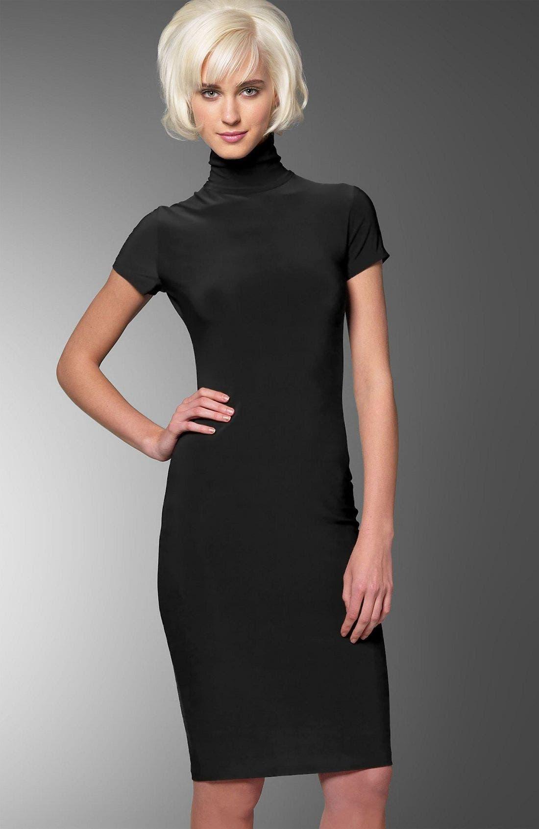 Short Sleeve Turtleneck Dress,                             Main thumbnail 1, color,                             BLK
