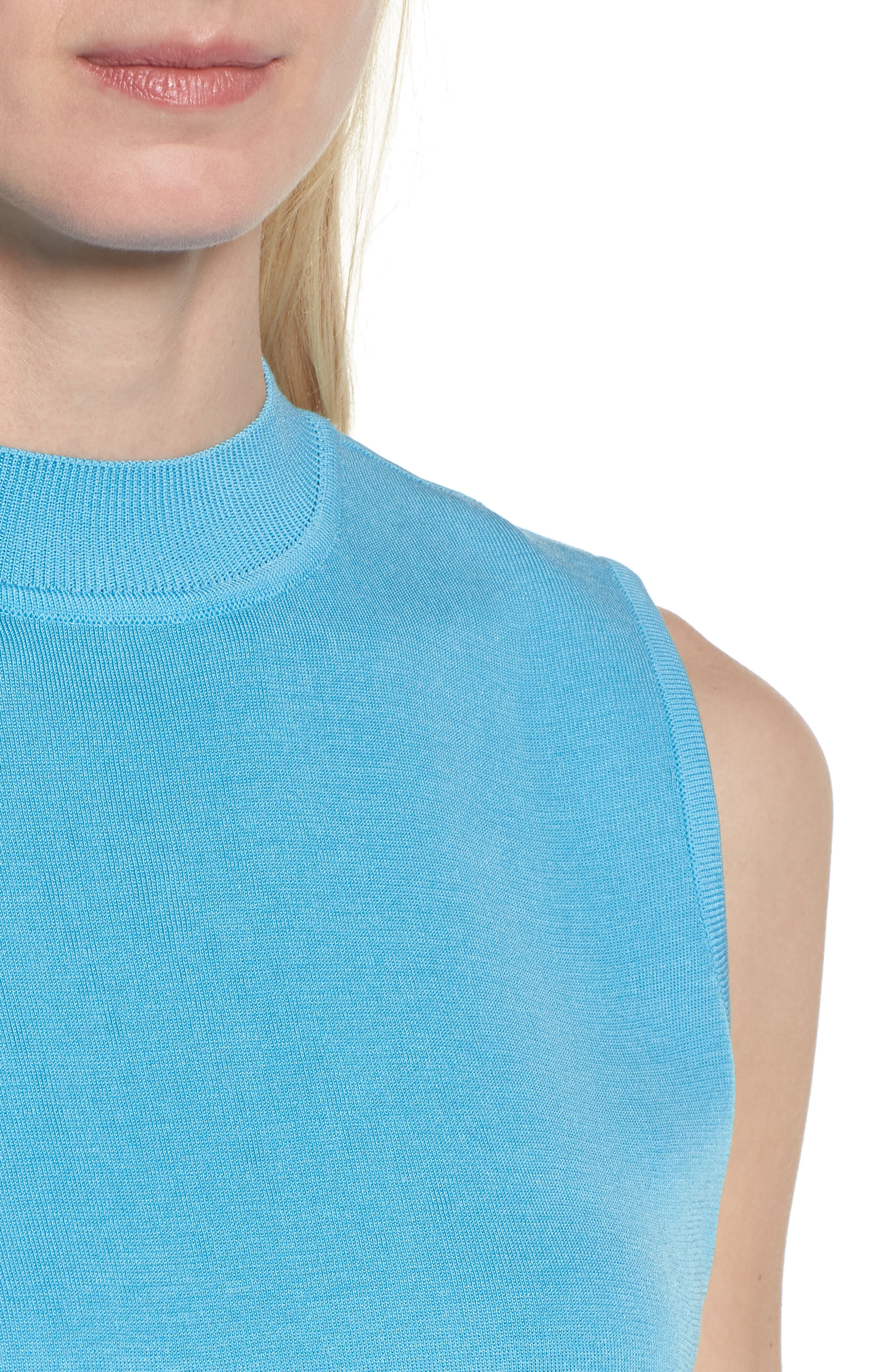 Mock Neck Knit Tank,                             Alternate thumbnail 4, color,                             BLUEBONNET