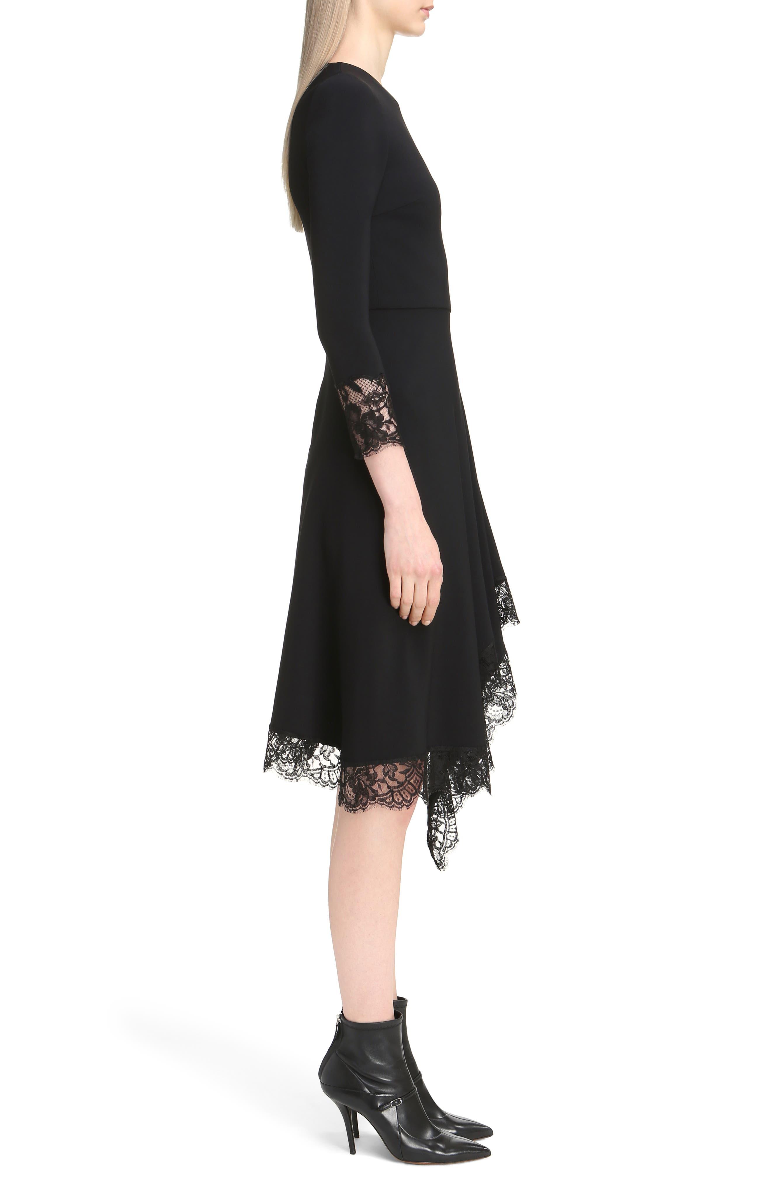 Lace Trim Stretch Cady Asymmetrical Dress,                             Alternate thumbnail 3, color,                             001