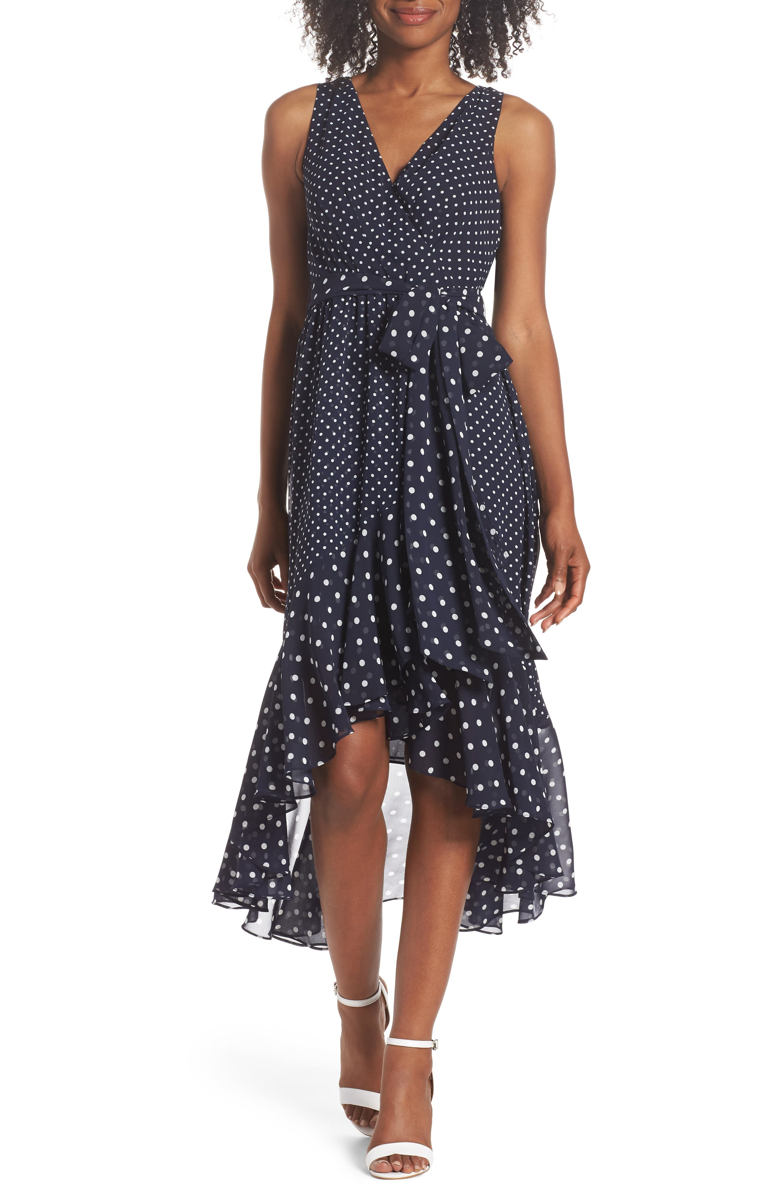 ELIZA J,                             Polka Dot High/Low Hem Dress,                             Main thumbnail 1, color,                             407