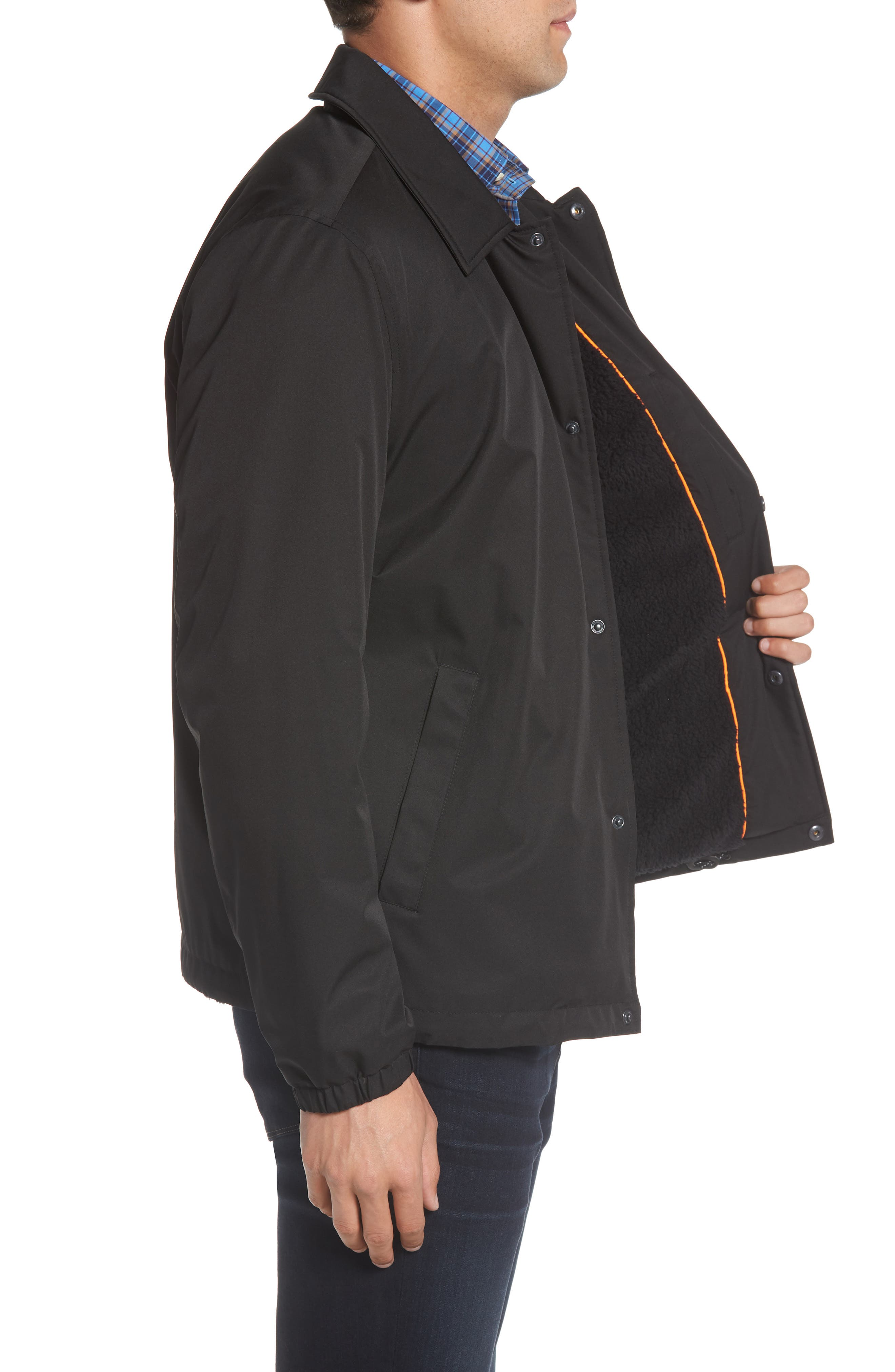 COLE HAAN SIGNATURE,                             Faux Shearling Lined Jacket,                             Alternate thumbnail 3, color,                             001