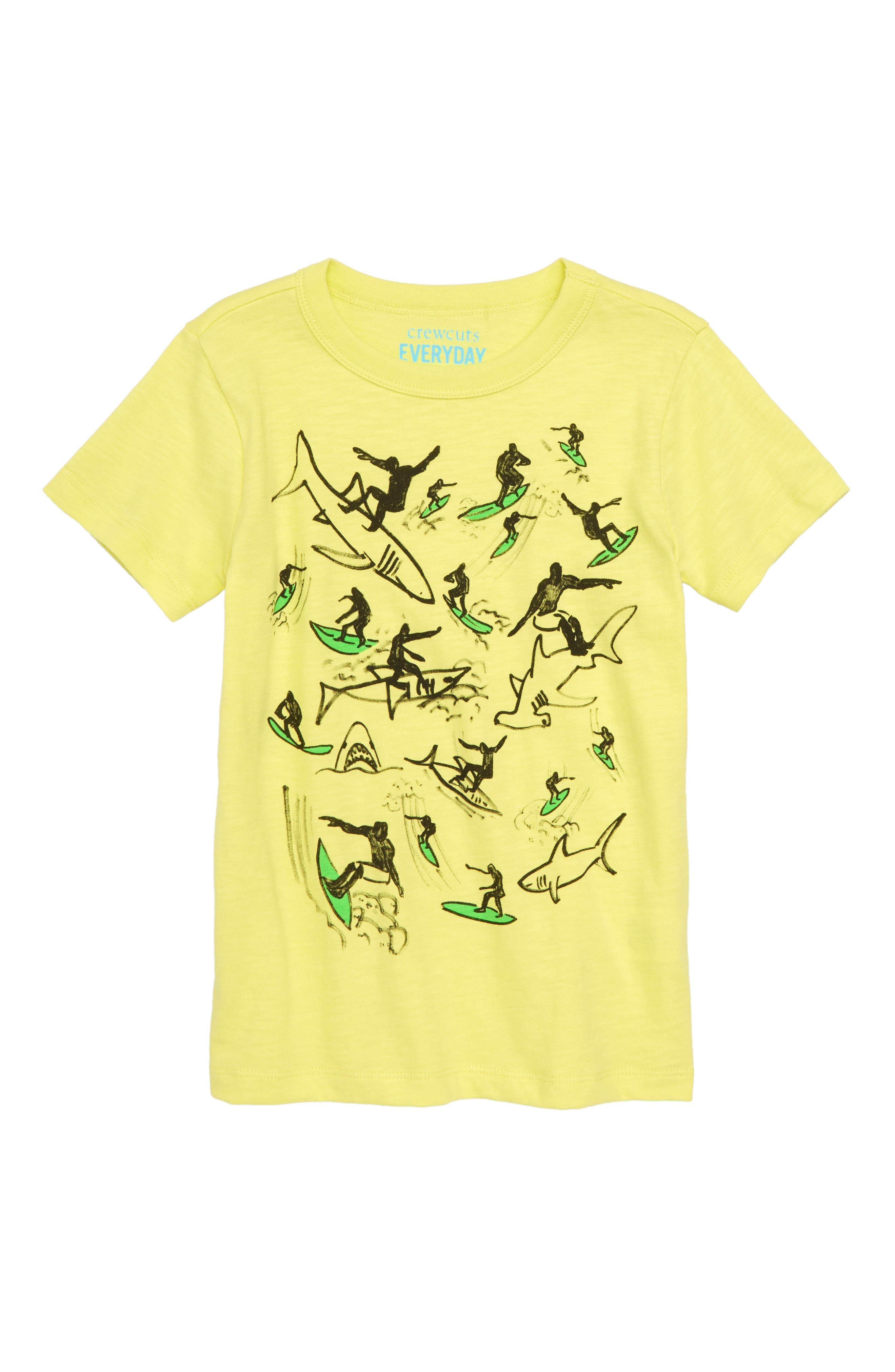 Surfing with Sharks Graphic T-Shirt,                             Main thumbnail 1, color,                             LEMON SORBET