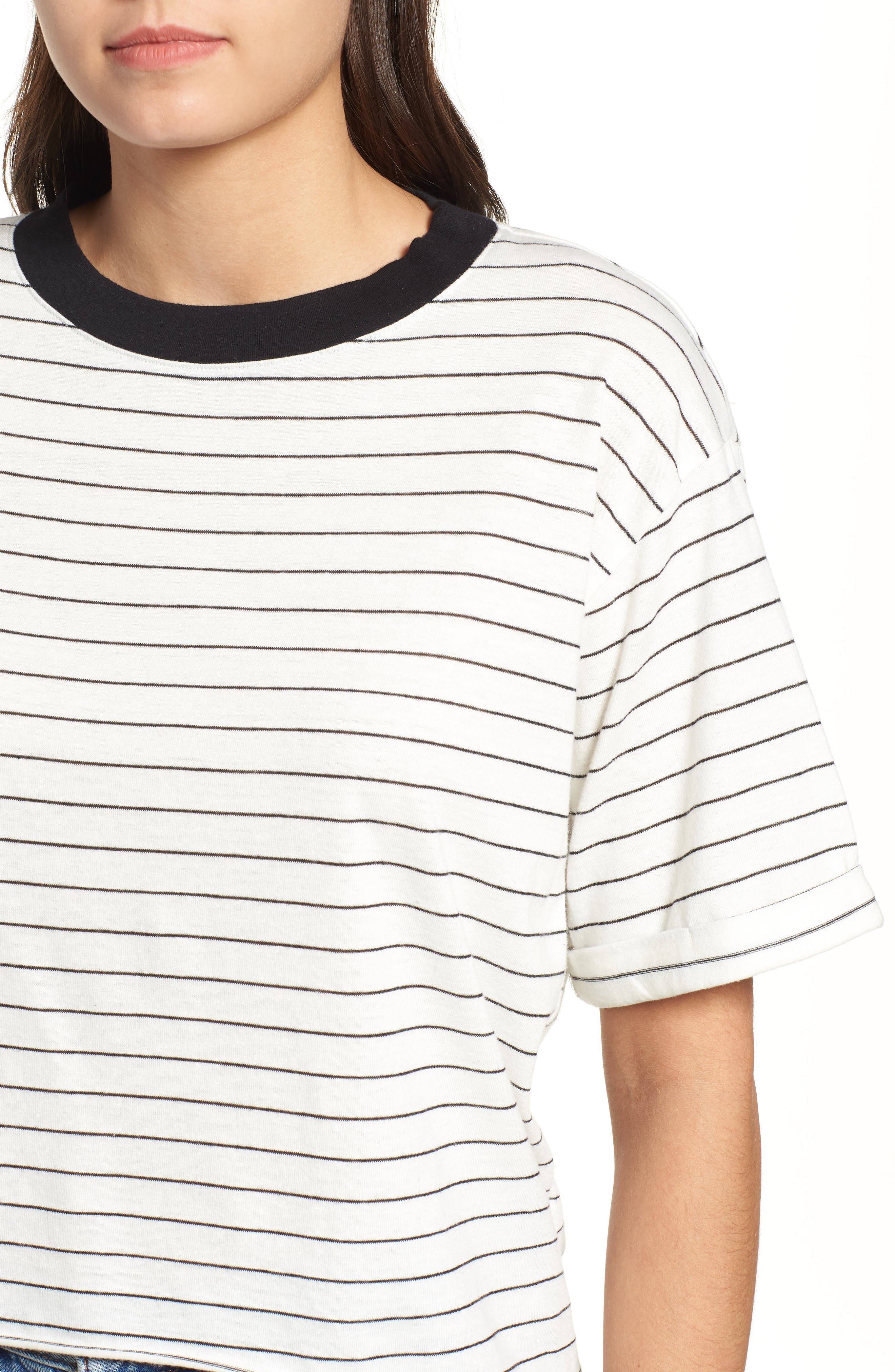 Freddy Crop Ringer Tee,                             Alternate thumbnail 4, color,                             IVORY/ BLACK