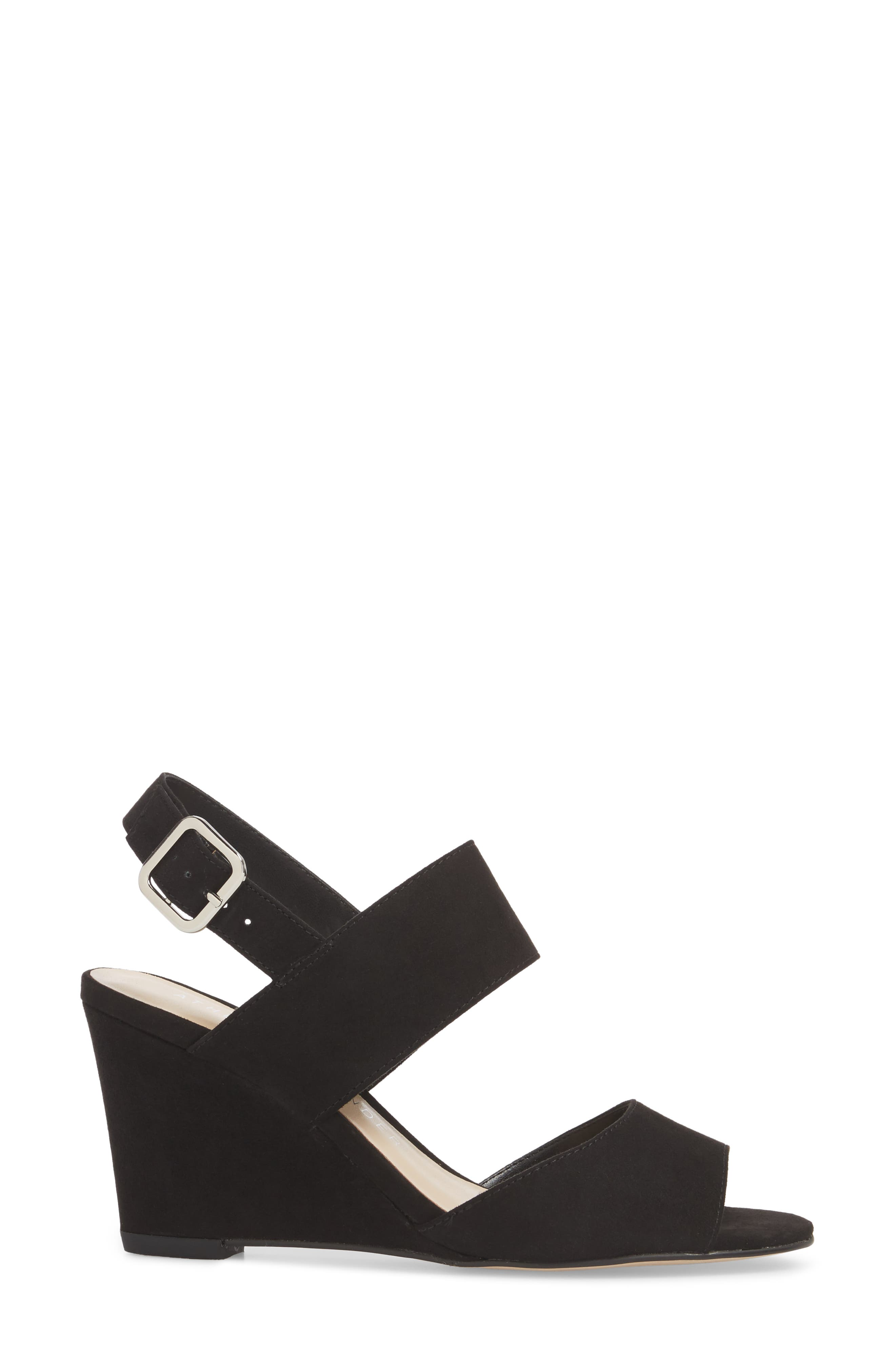 Slayte Wedge Sandal,                             Alternate thumbnail 3, color,                             BLACK FAUX SUEDE